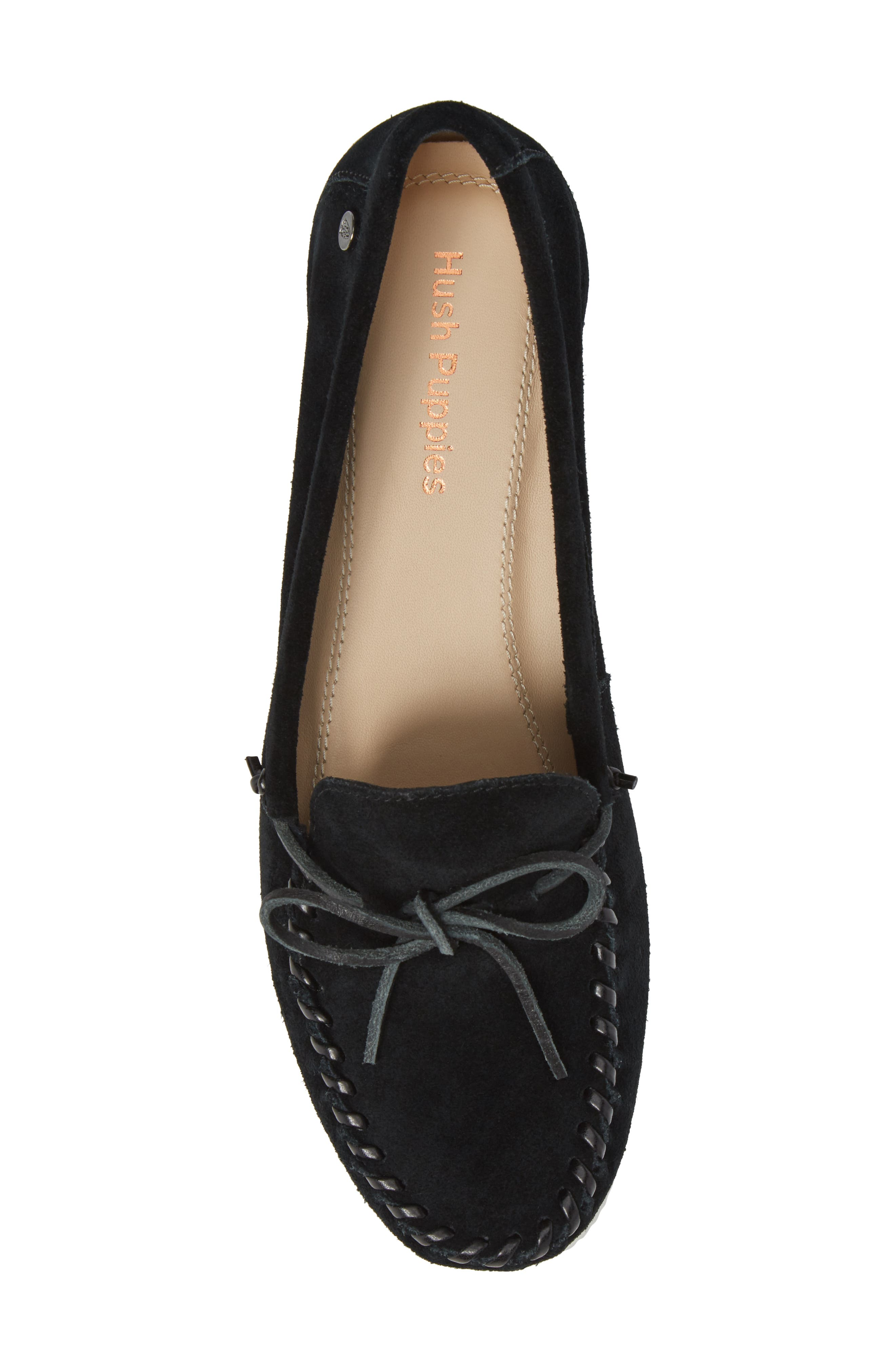 Larghetto Carine Concealed Wedge Moccasin,                             Alternate thumbnail 5, color,                             BLACK SUEDE