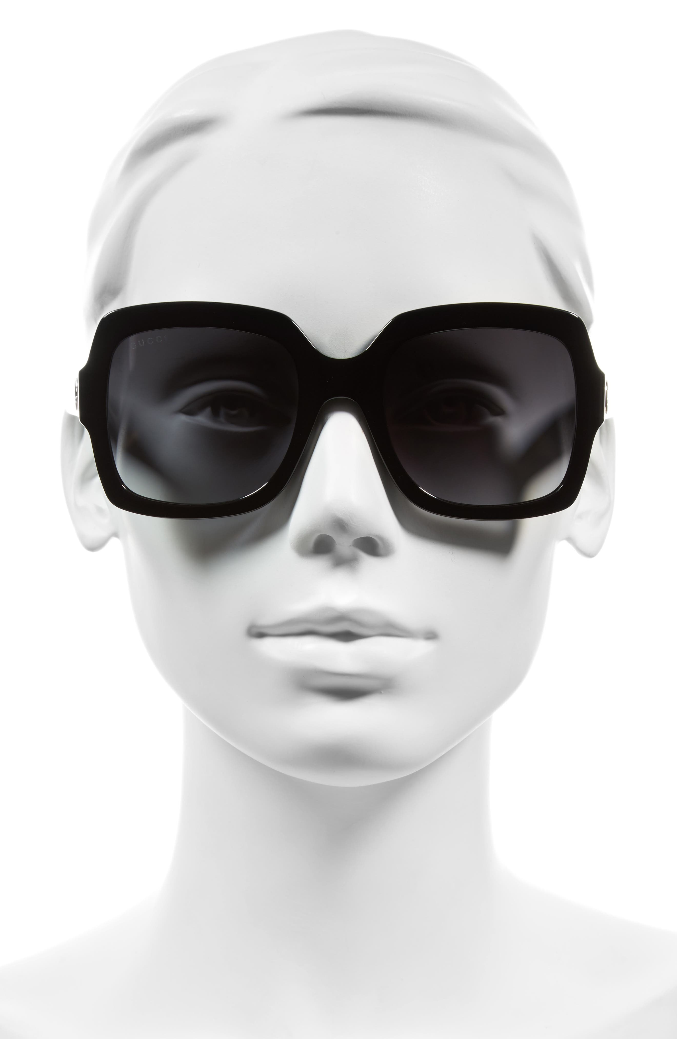 54mm Square Sunglasses,                             Alternate thumbnail 2, color,                             BLACK/ GREY