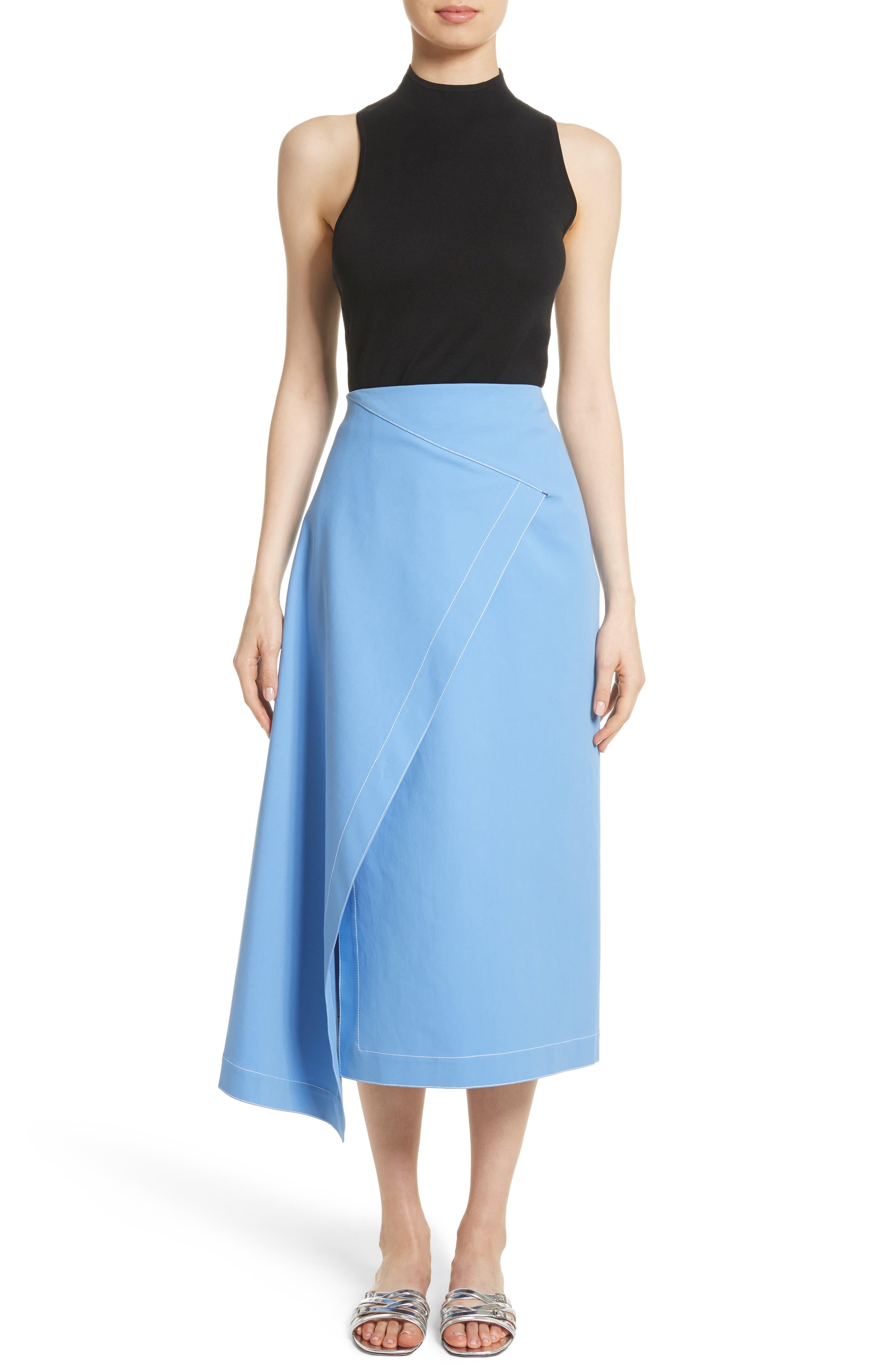 Asymmetrical Stretch Cotton Skirt,                             Alternate thumbnail 7, color,                             450