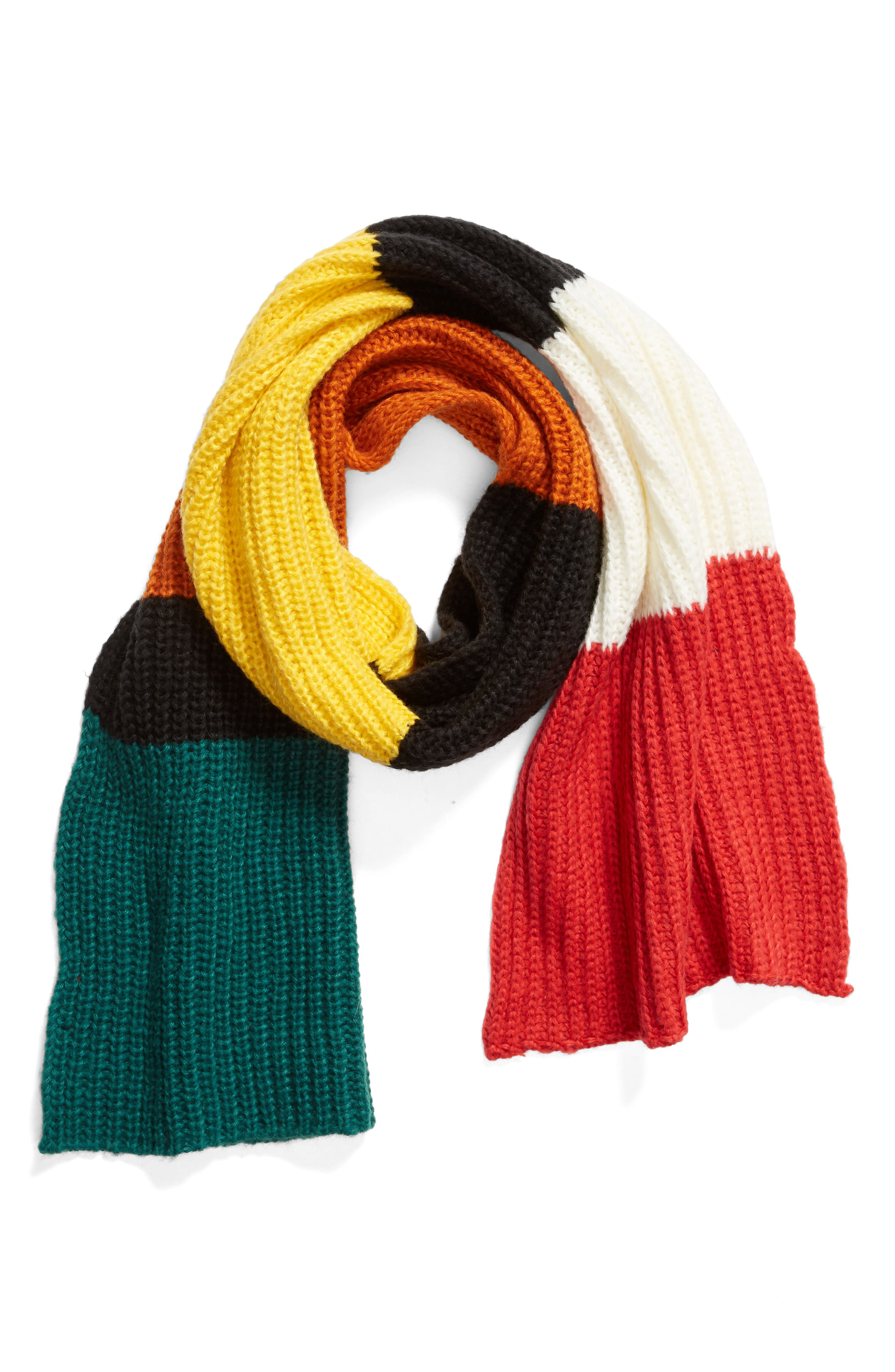 Colorblock Chunky Knit Scarf,                             Alternate thumbnail 2, color,                             BLACK COMBO
