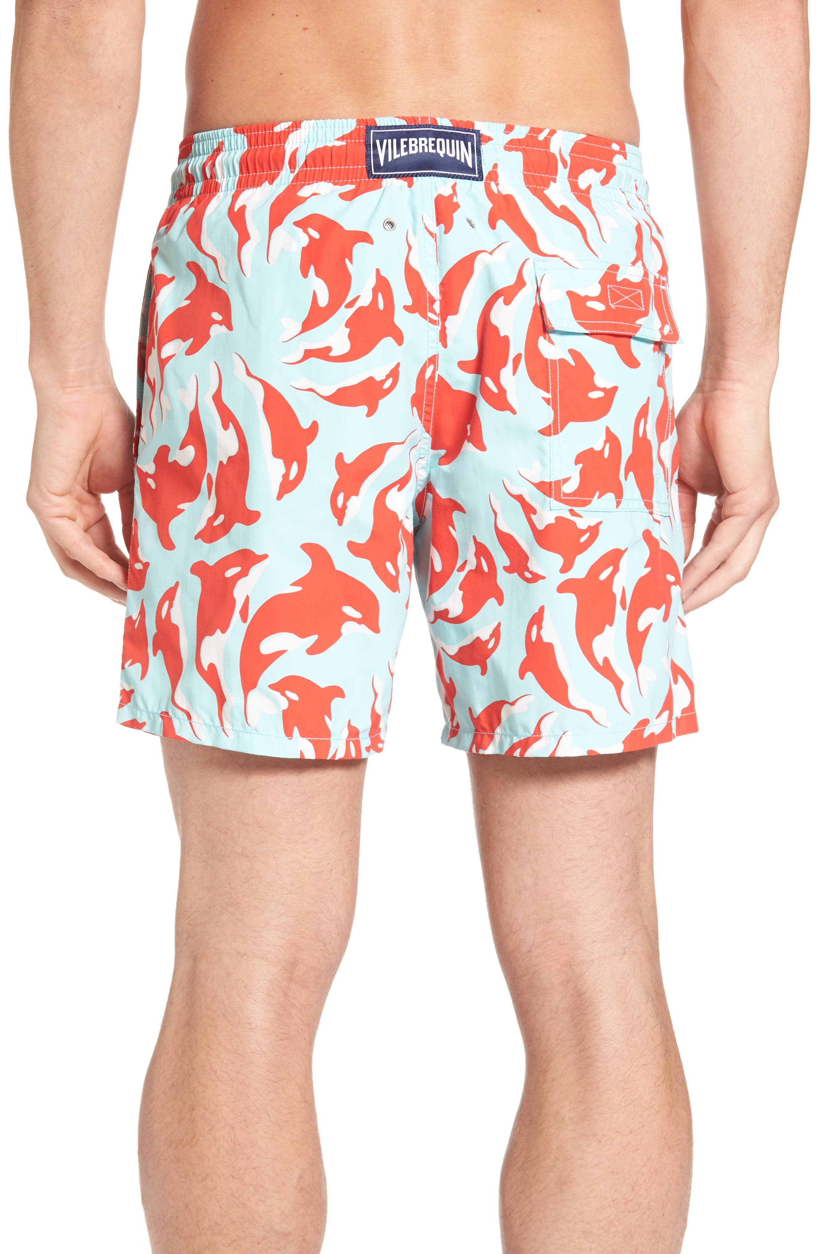 Moorea Galaks Print Swim Trunks,                             Alternate thumbnail 2, color,                             FROSTED BLUE