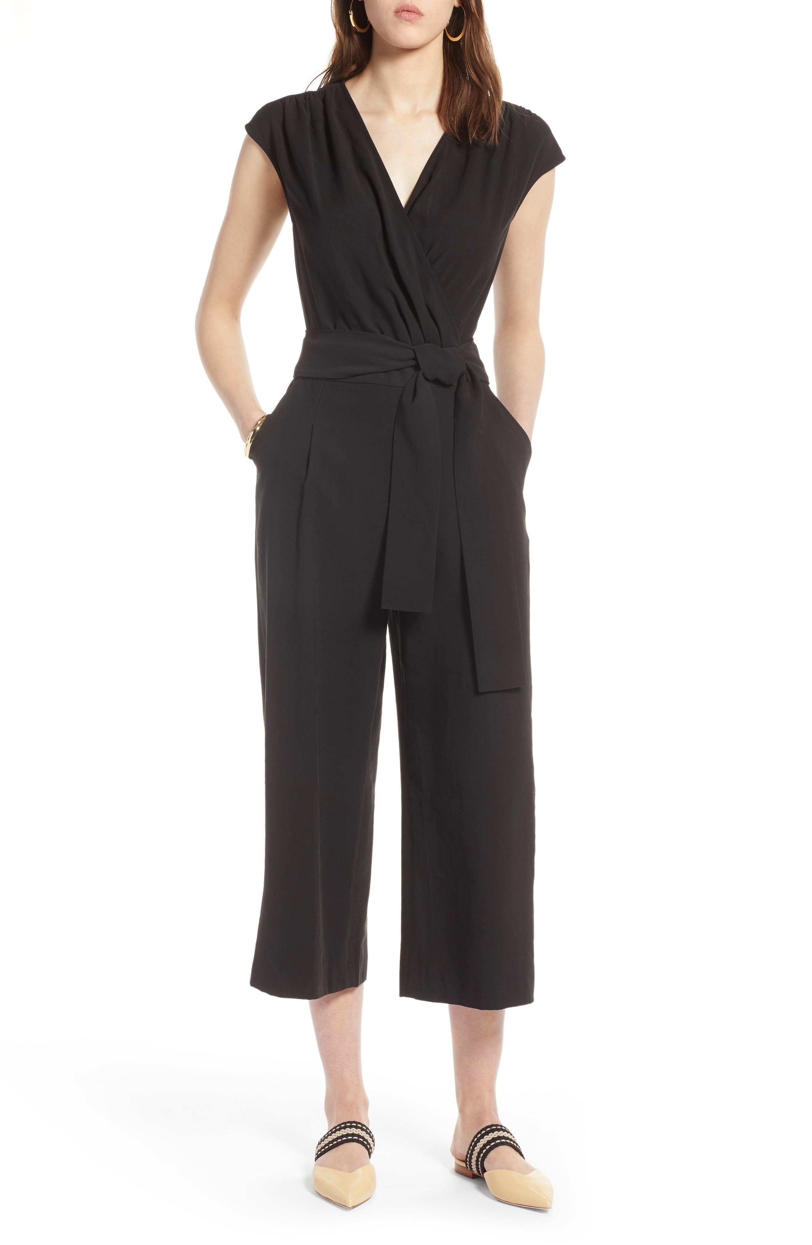 Tie Waist Crop Jumpsuit,                         Main,                         color, 001