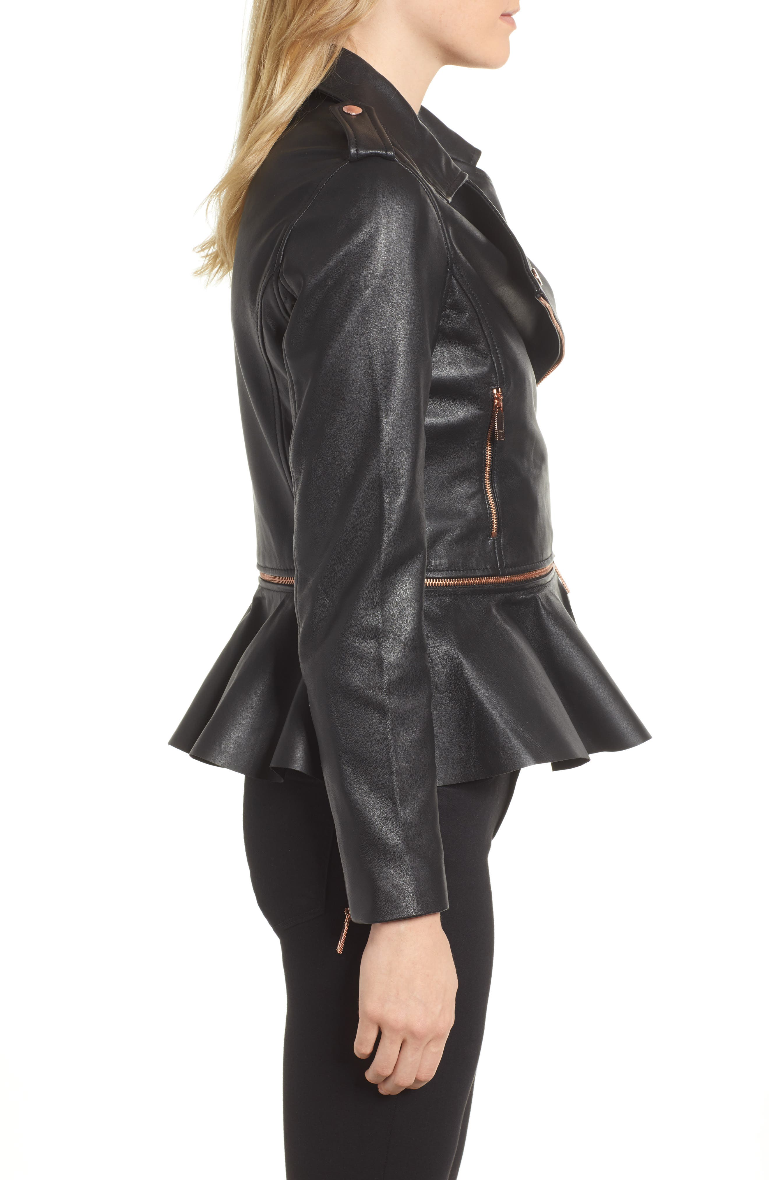Zip-Off Peplum Leather Biker Jacket,                             Alternate thumbnail 3, color,                             001
