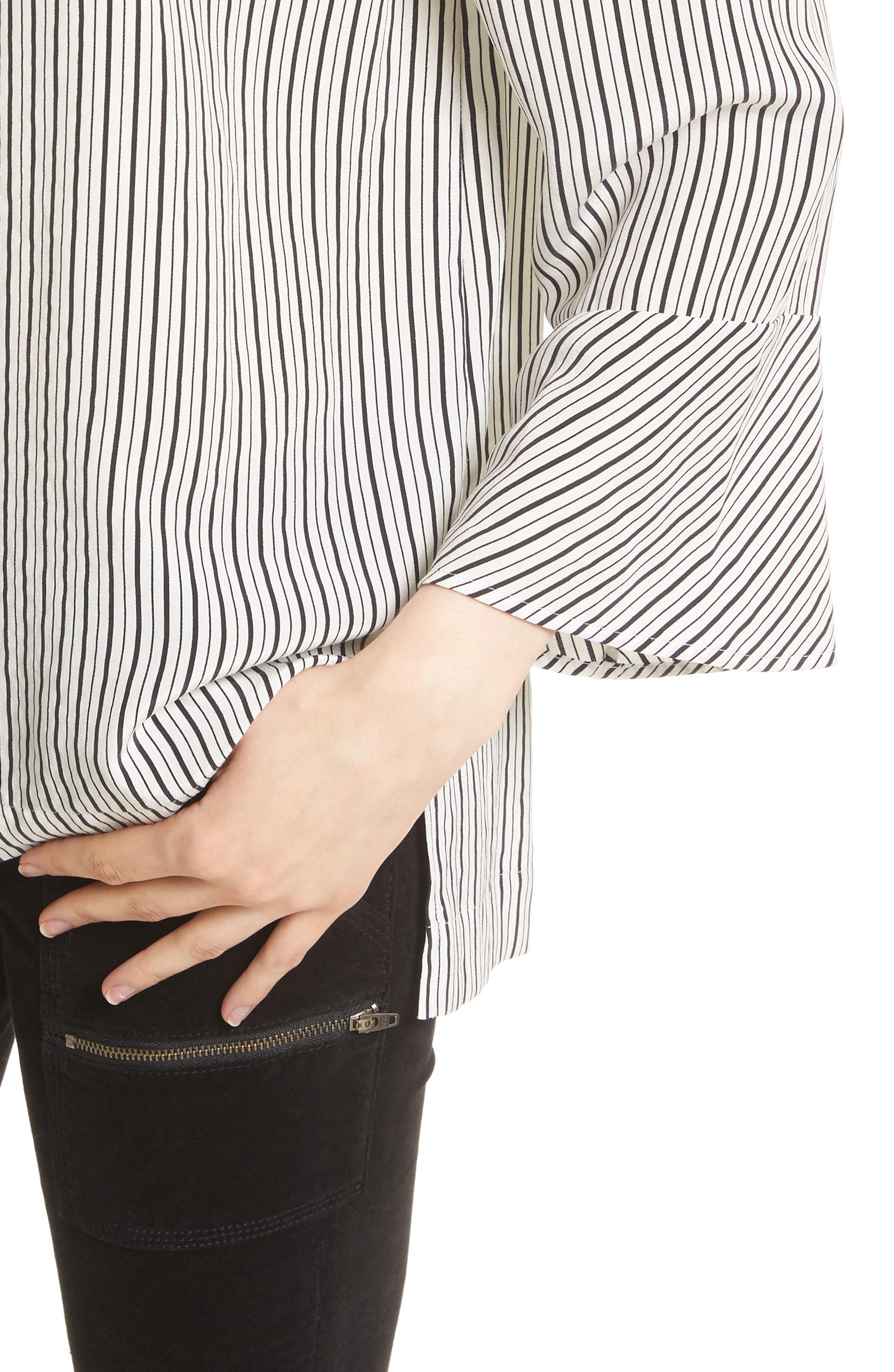 Dinora Off the Shoulder Stripe Silk Top,                             Alternate thumbnail 4, color,                             123