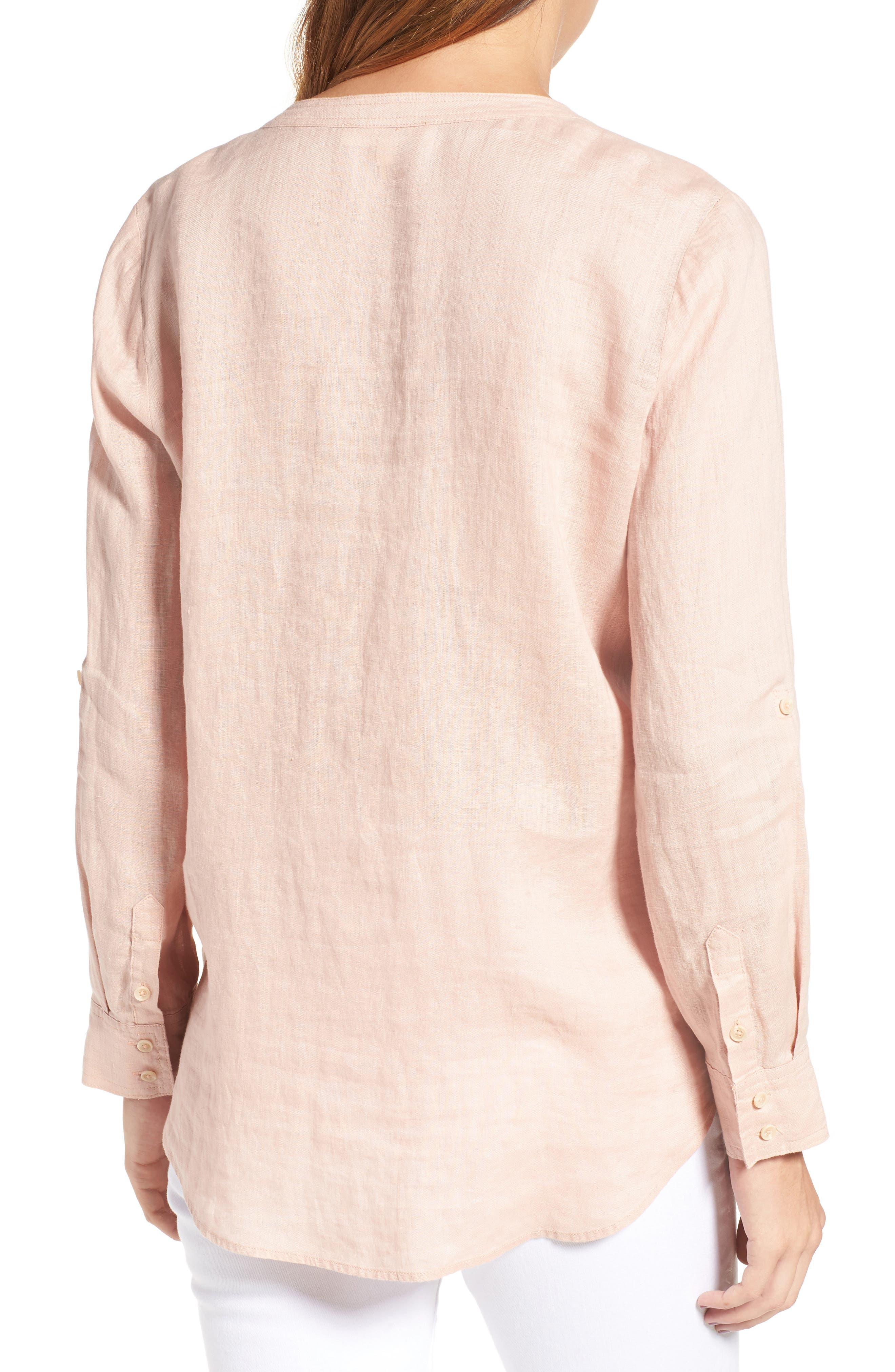 Two by Vince Camuto Collarless Linen Shirt,                             Alternate thumbnail 10, color,