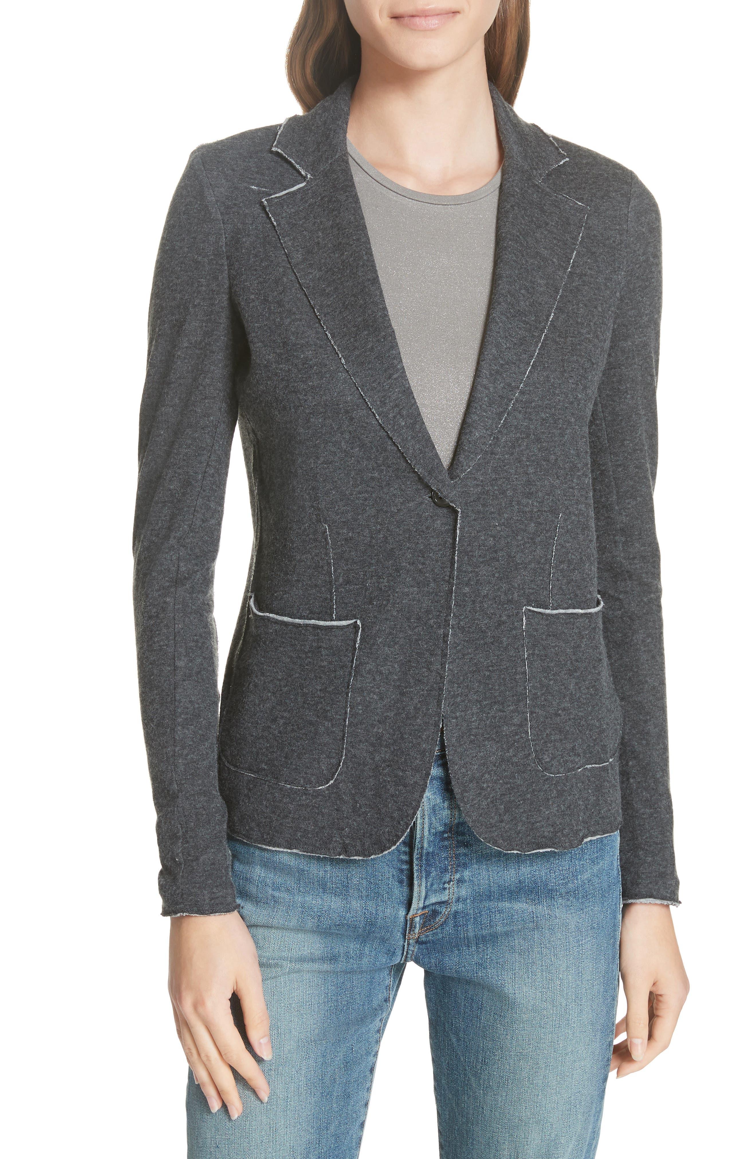 Cotton & Cashmere Blazer,                         Main,                         color, ANTHRACITE CH/ GRIS CH