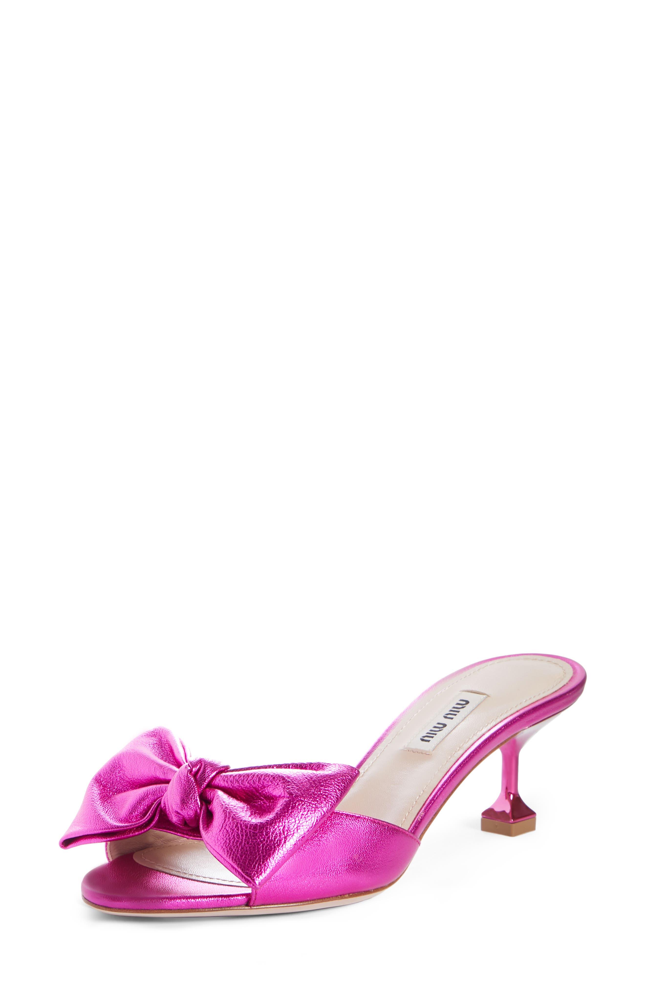 Bow Slide Sandal,                             Main thumbnail 1, color,                             FUCHSIA