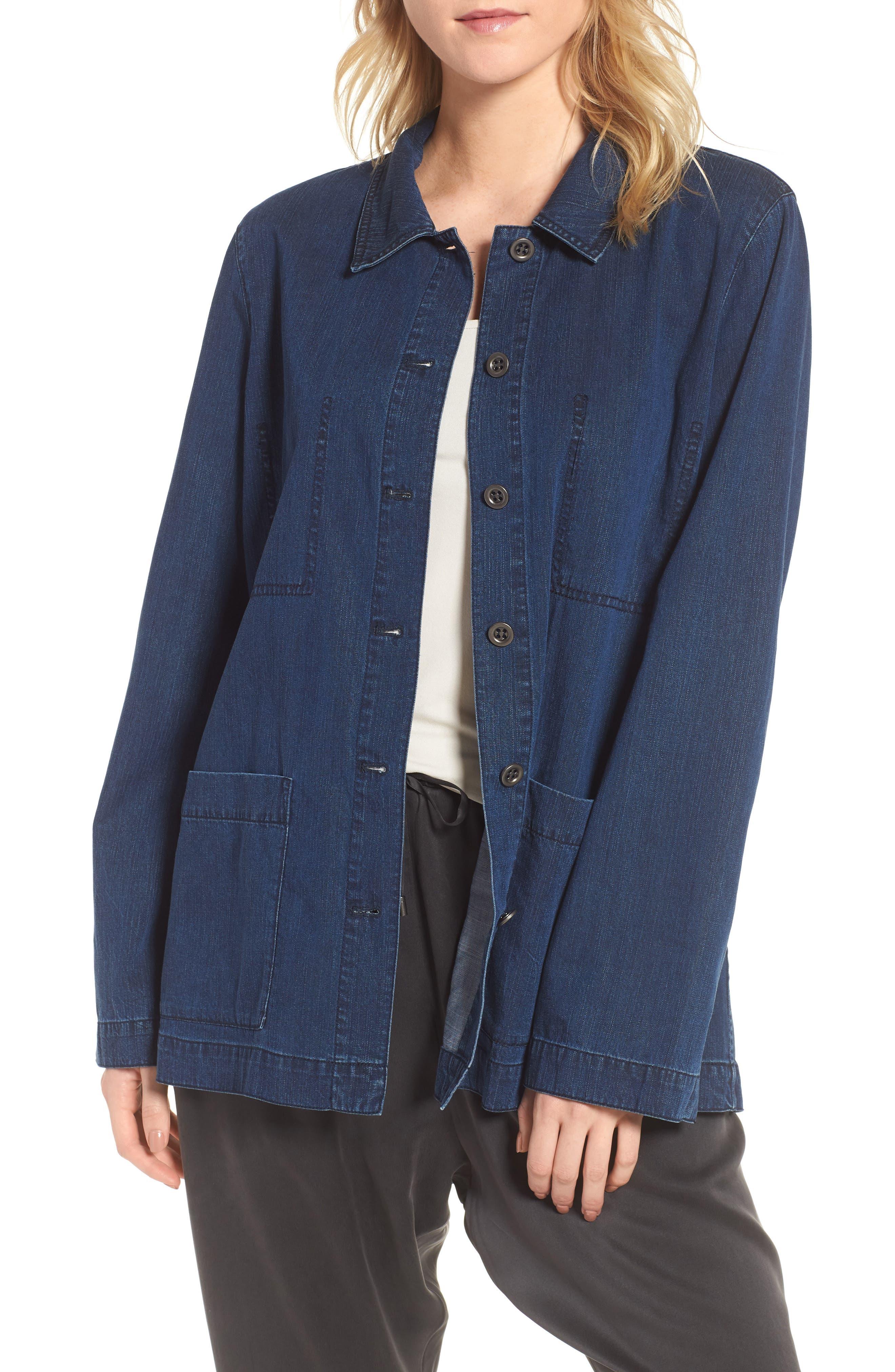Soft Cotton Blend Denim Jacket,                             Main thumbnail 1, color,                             419