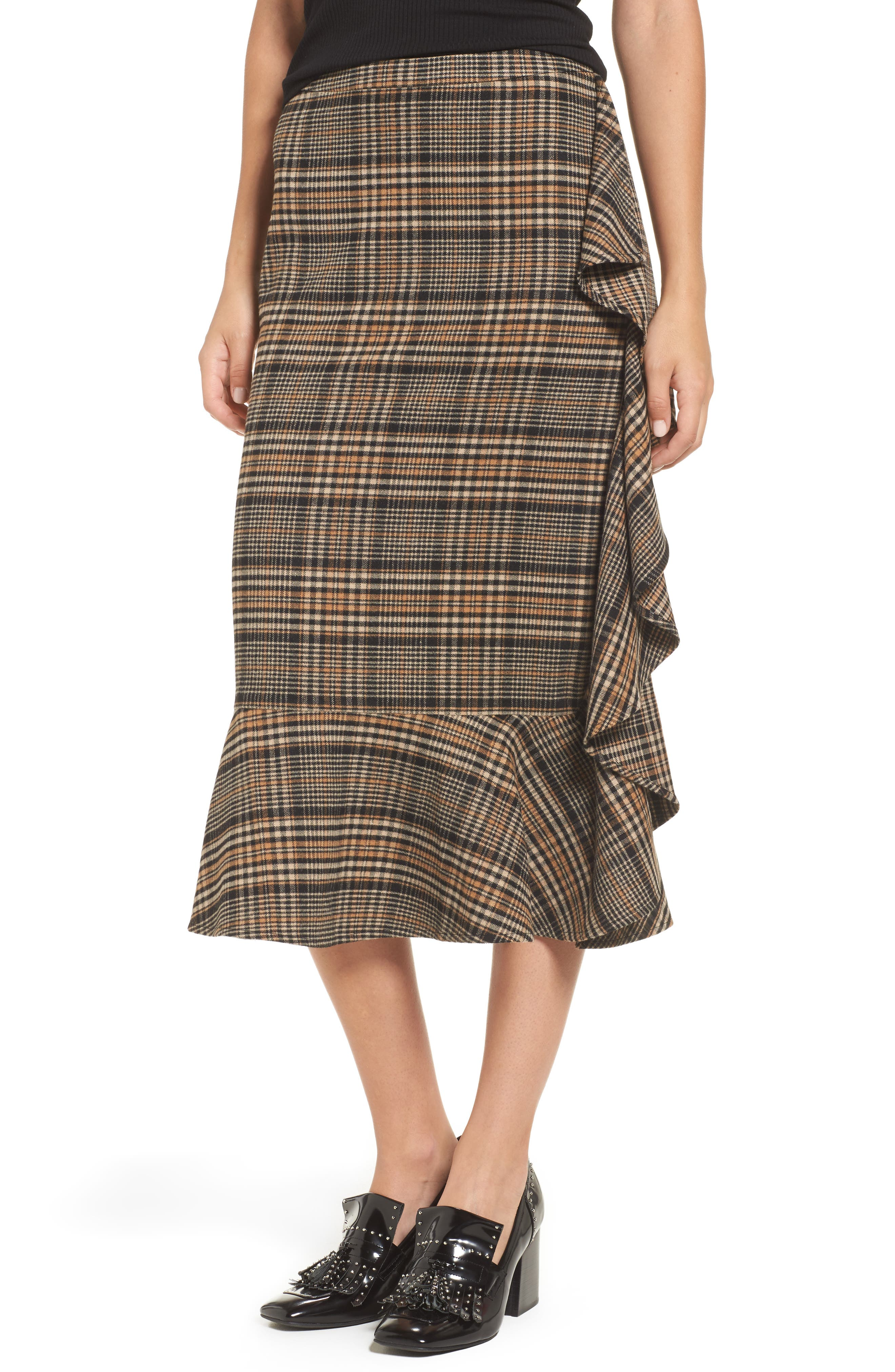 Ruffle Plaid Midi Skirt,                             Main thumbnail 1, color,