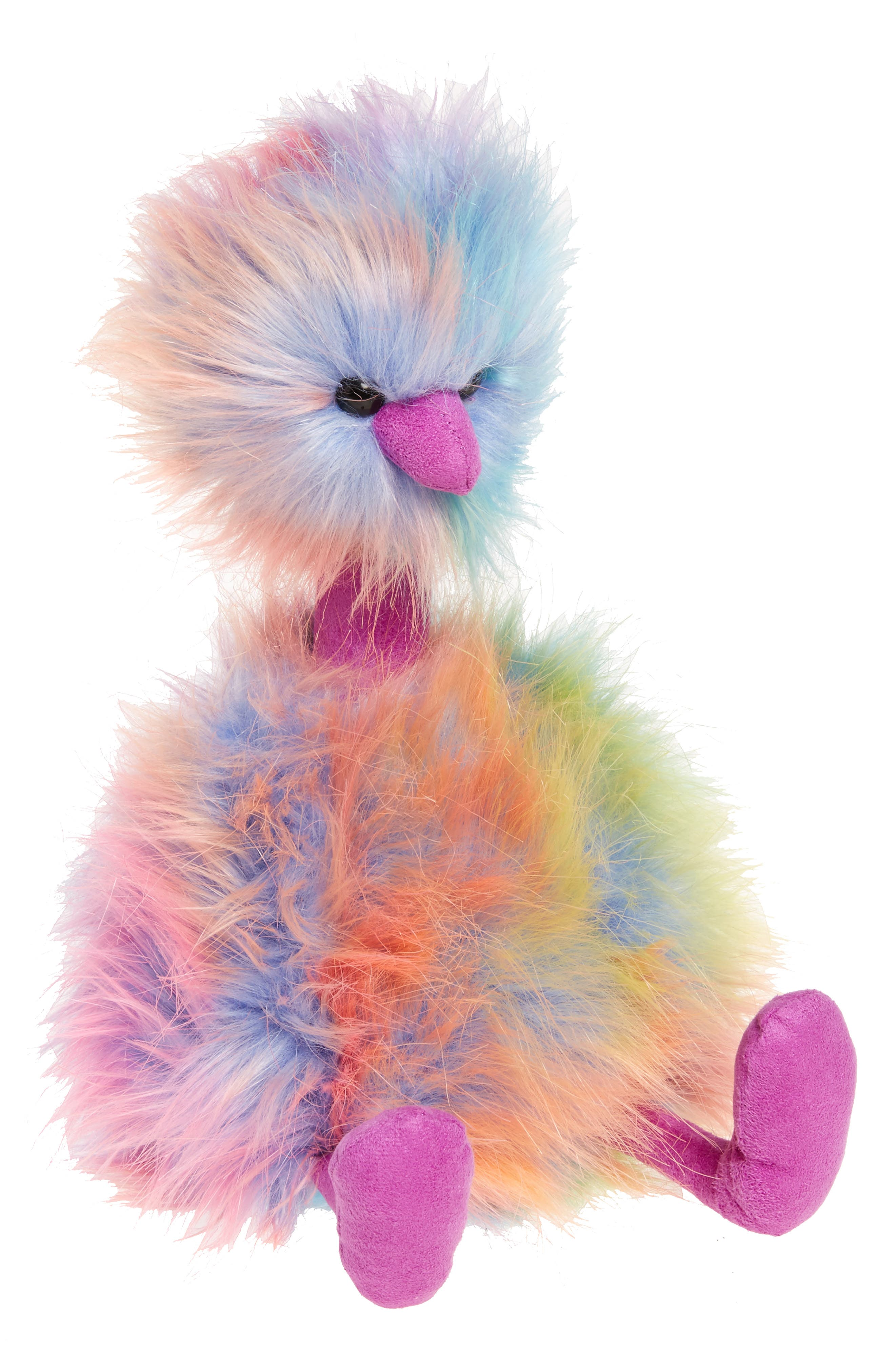 Medium Pompom Rainbow Stuffed Animal,                             Main thumbnail 1, color,                             PEACH MULTI