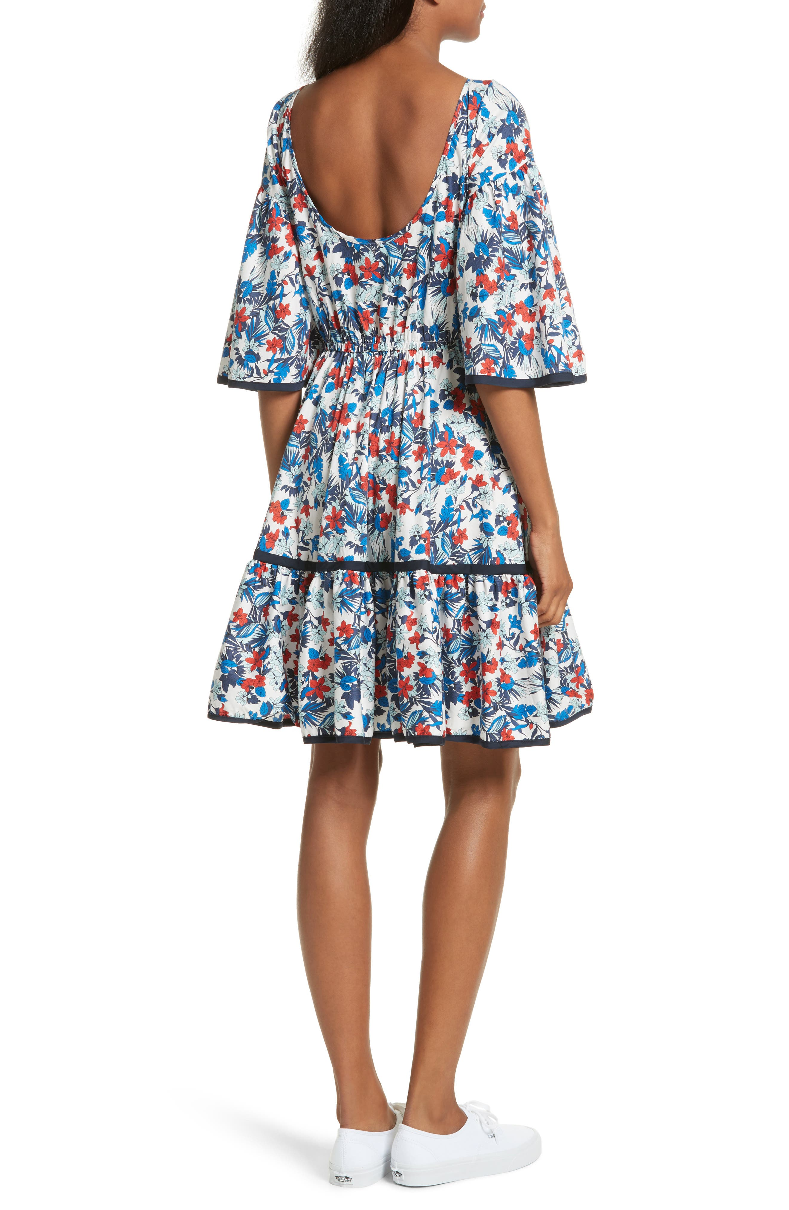 Hibiscus Print Fit & Flare Dress,                             Alternate thumbnail 2, color,                             433