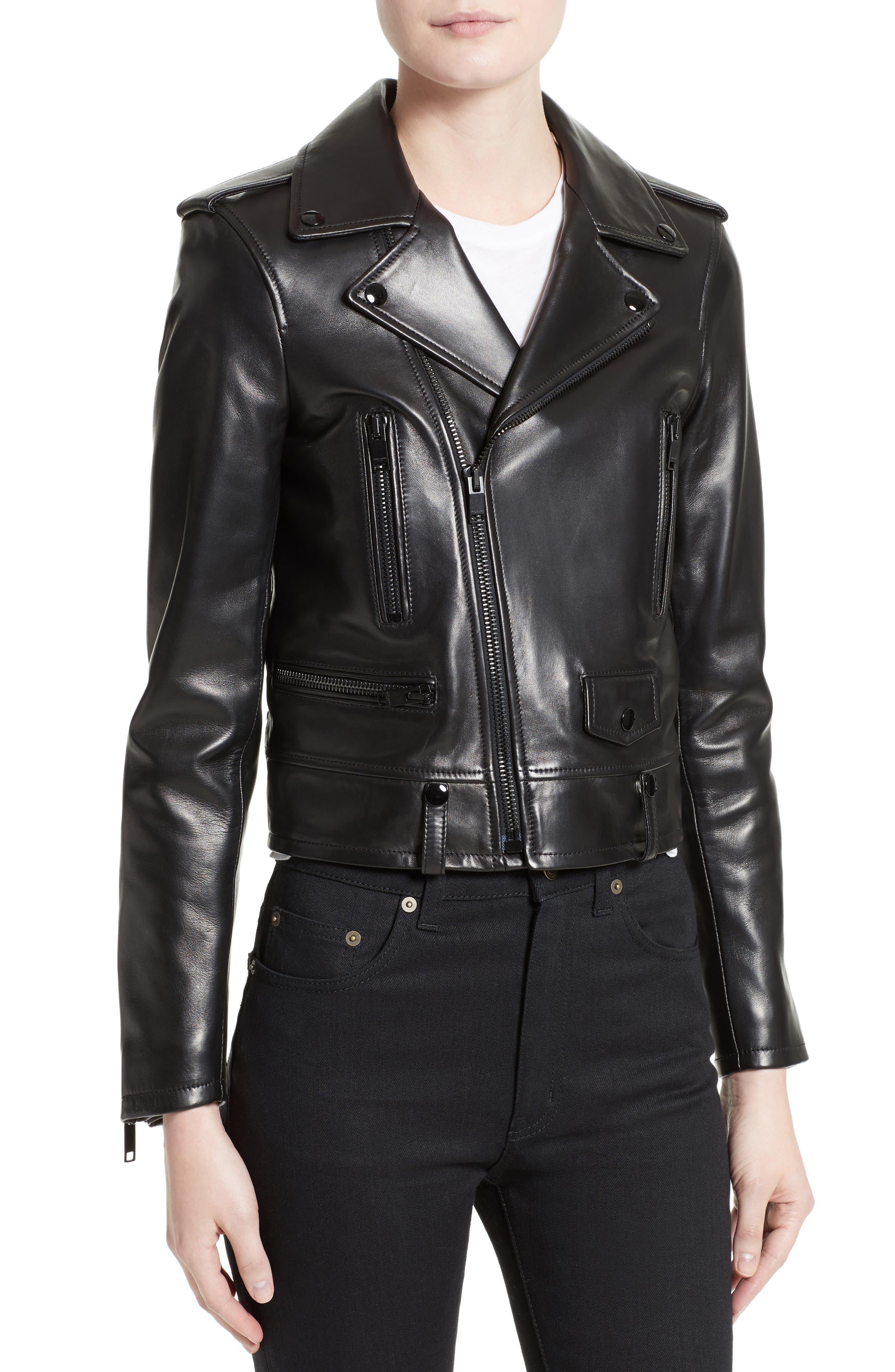 Leather Moto Jacket,                             Alternate thumbnail 4, color,                             GRANITO