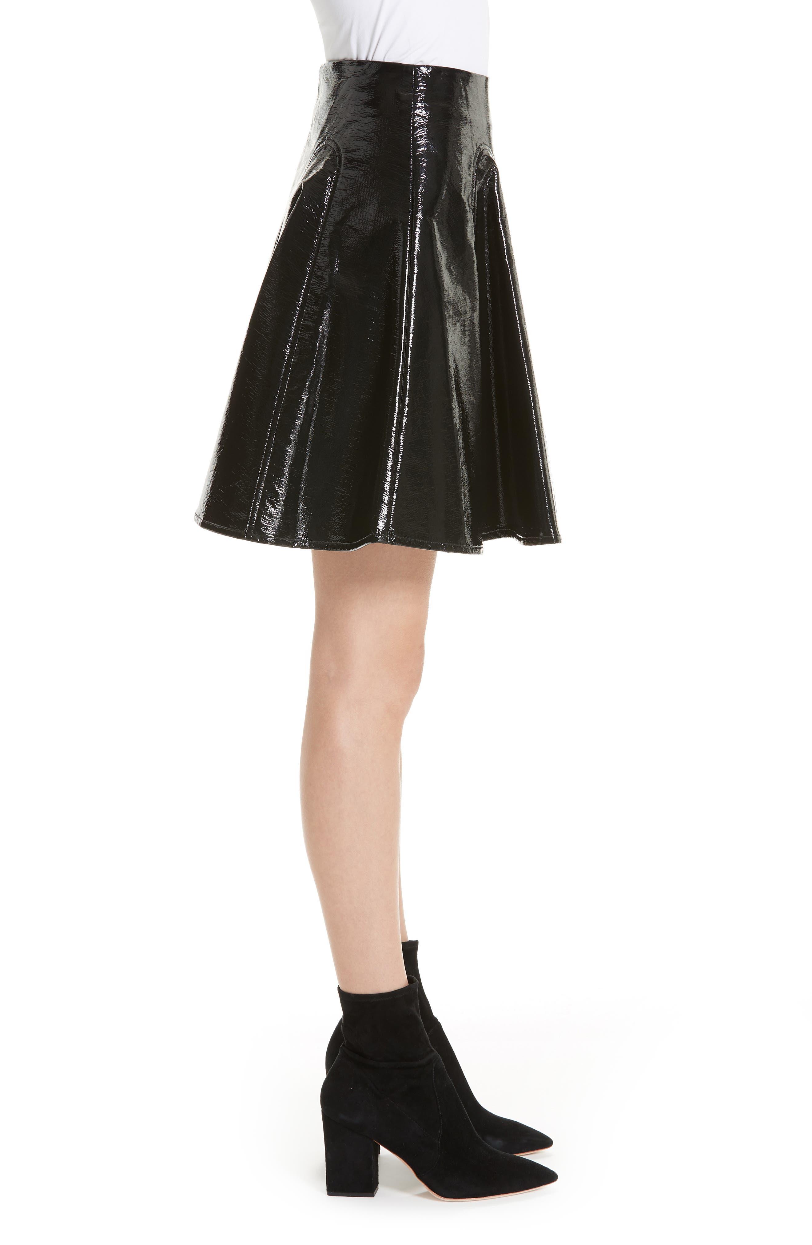 Trivia Coated Miniskirt,                             Alternate thumbnail 3, color,                             BLACK