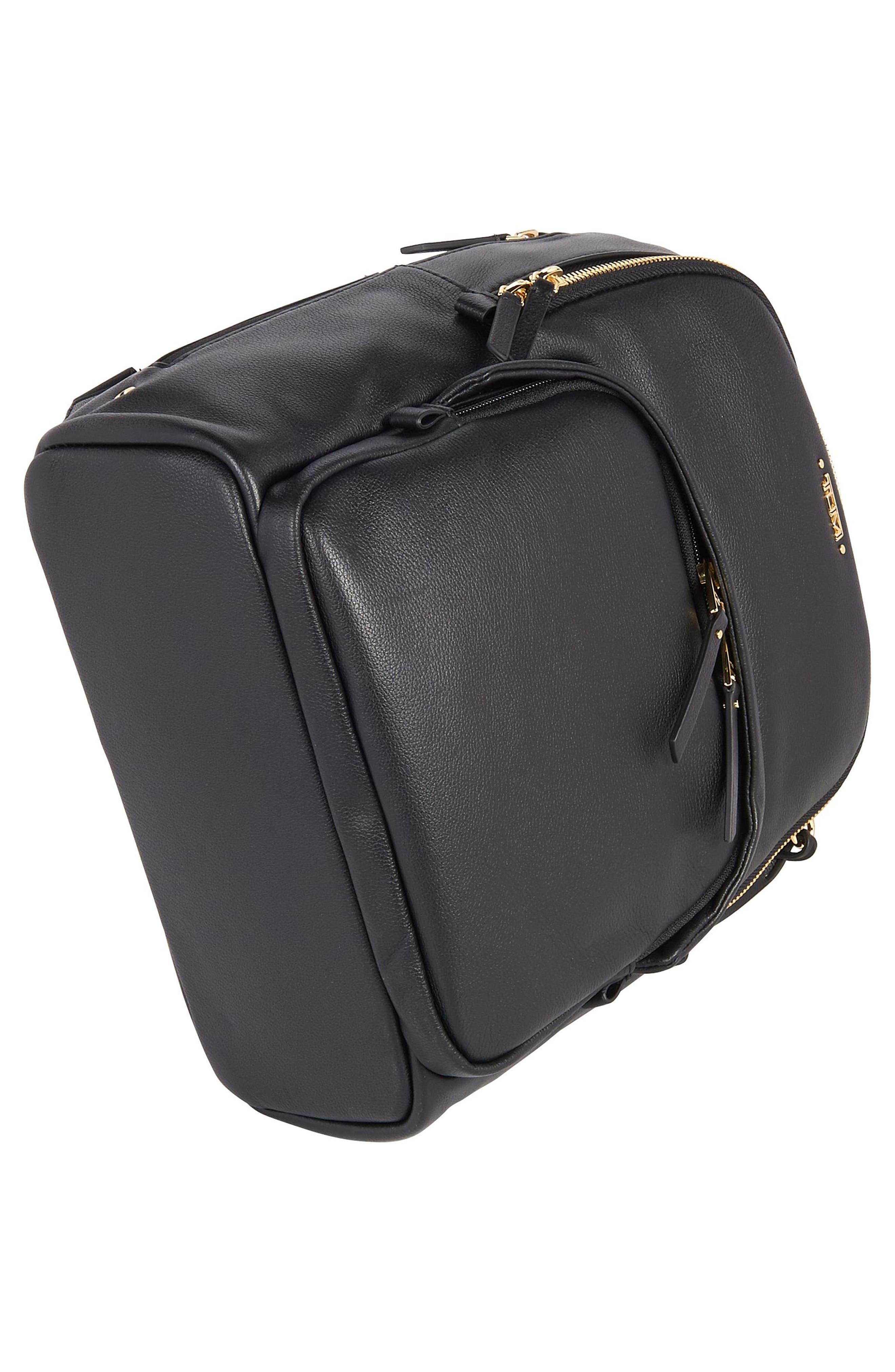 Voyageur - Dori Leather Backpack,                             Alternate thumbnail 5, color,                             BLACK