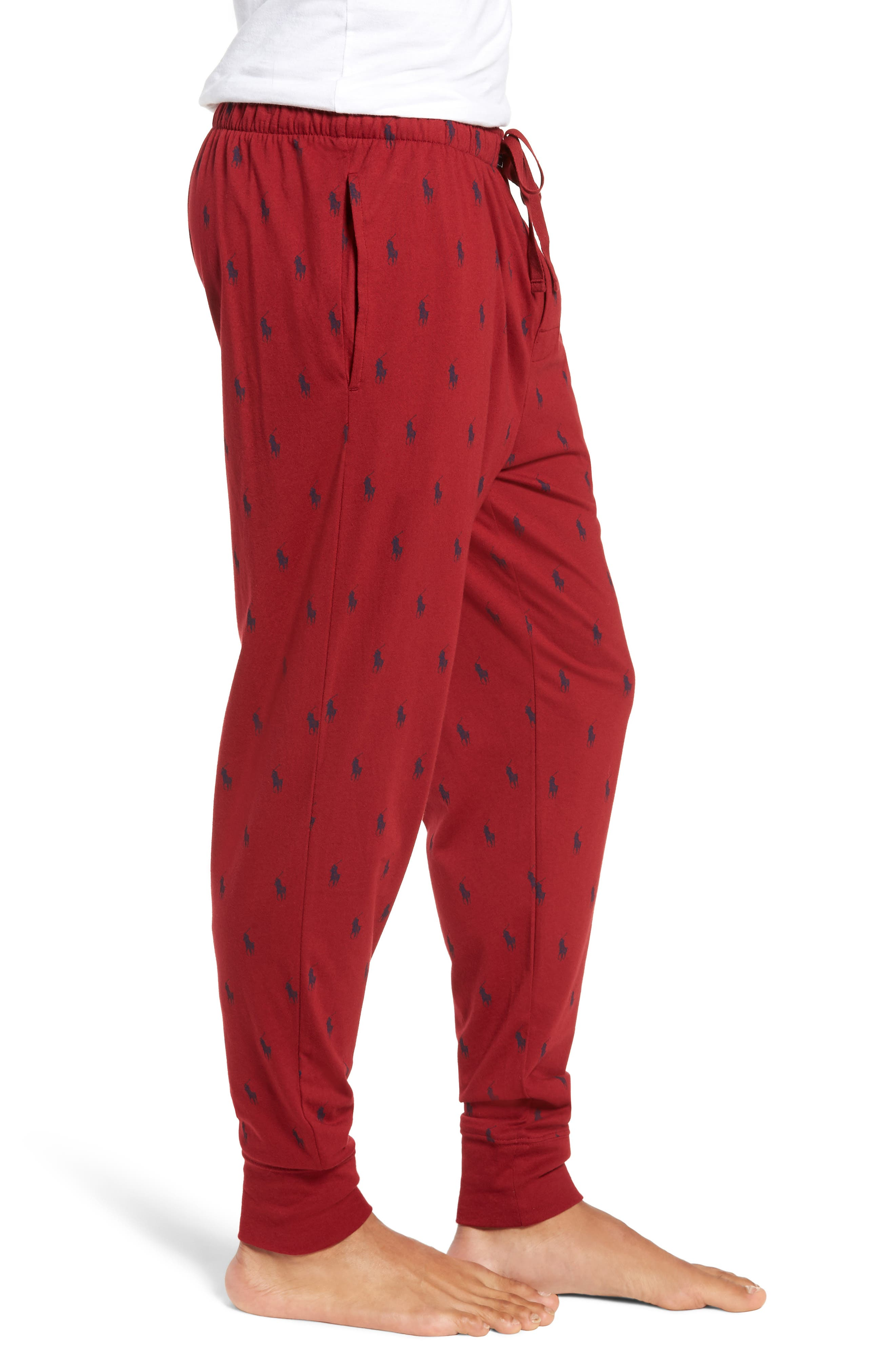 Cotton Lounge Pants,                             Alternate thumbnail 3, color,                             HOLIDAY RED/ CRUISE NAVY
