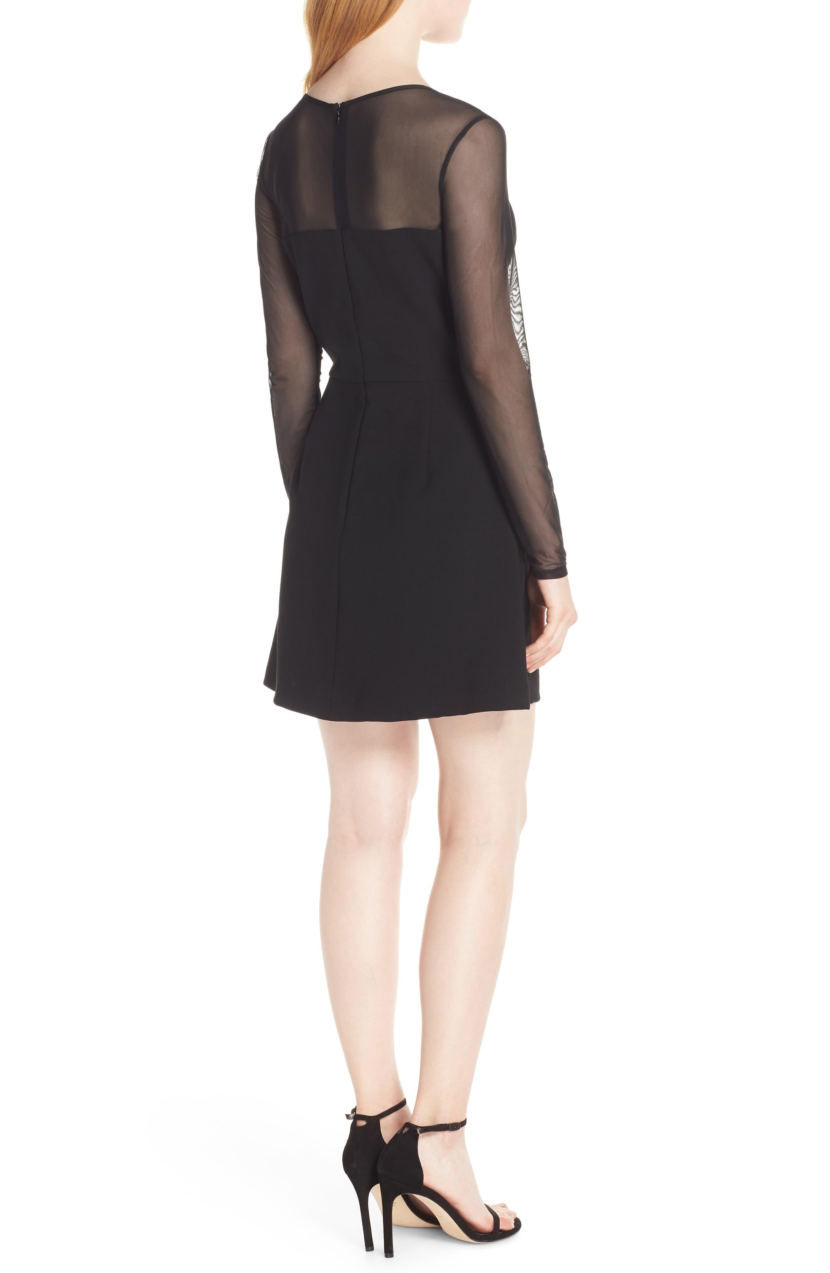 FRENCH CONNECTION,                             Whisper Light Mesh Sleeve Dress,                             Alternate thumbnail 2, color,                             BLACK