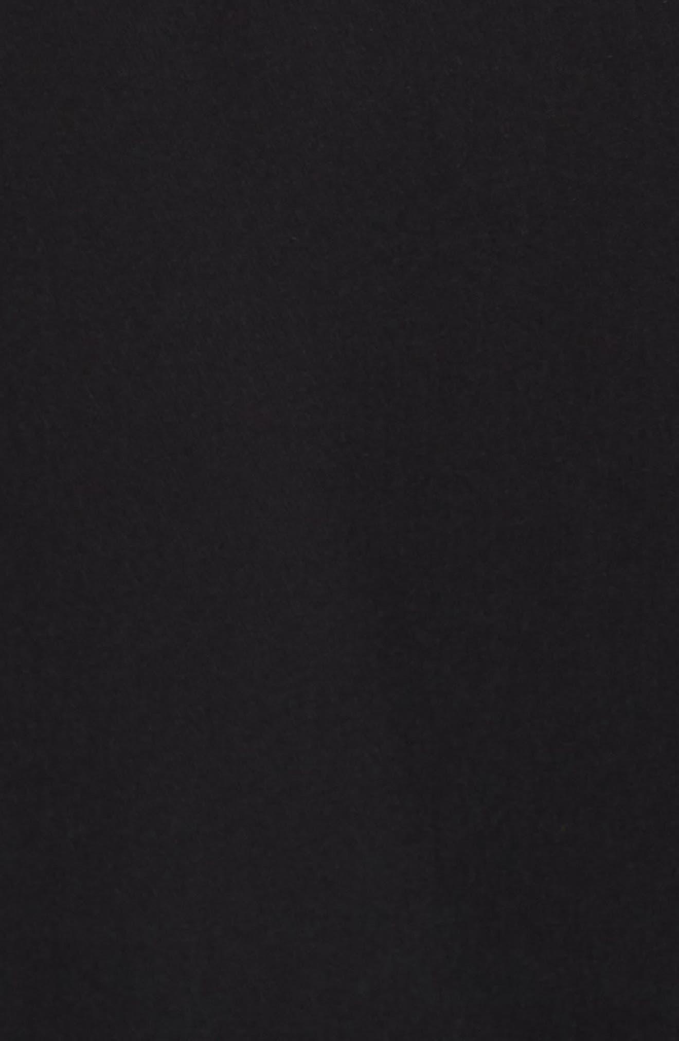 Lace & Crepe Gown,                             Alternate thumbnail 5, color,                             BLACK