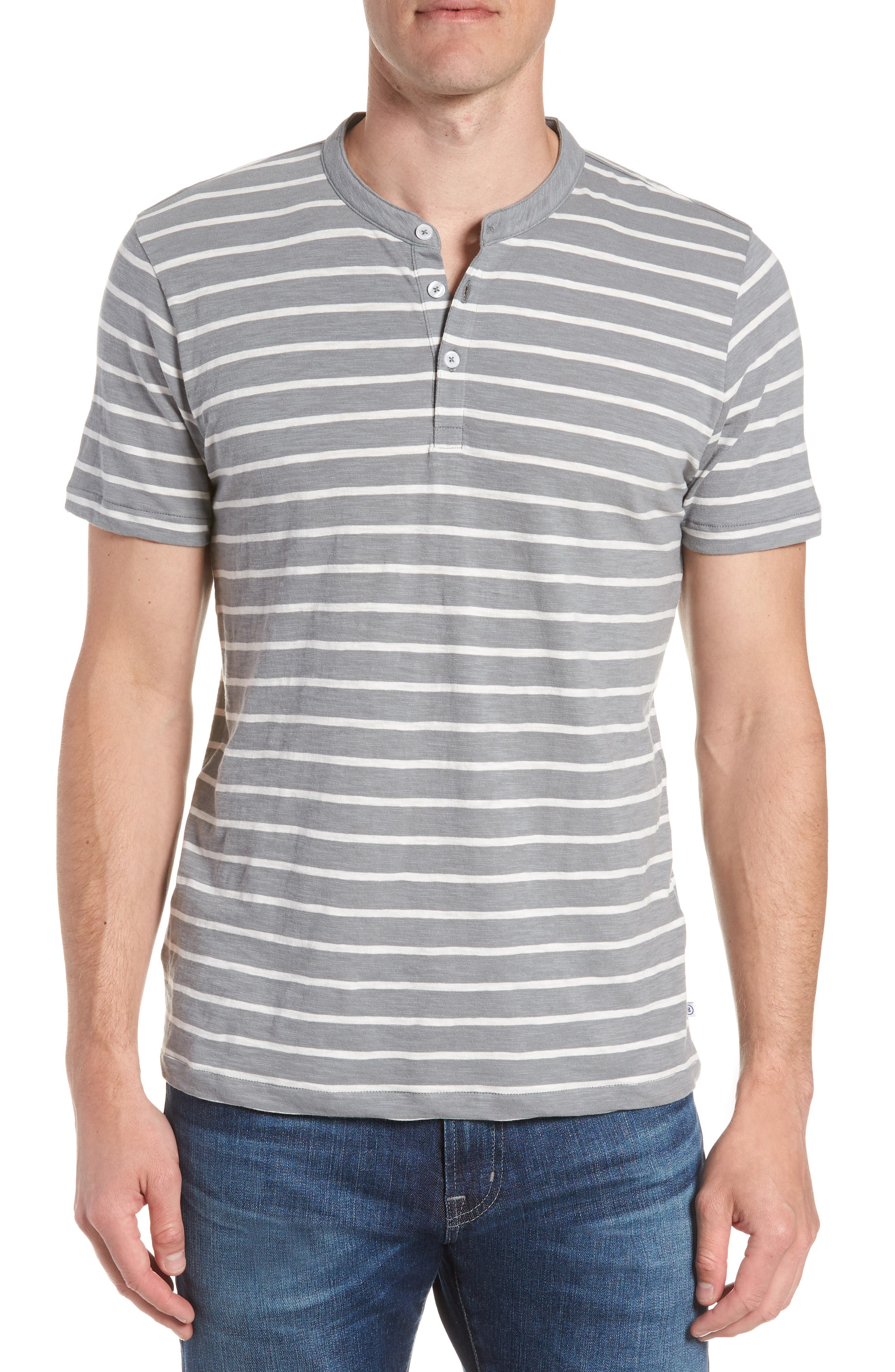 Slim Fit Stripe Henley T-Shirt,                             Main thumbnail 1, color,                             400