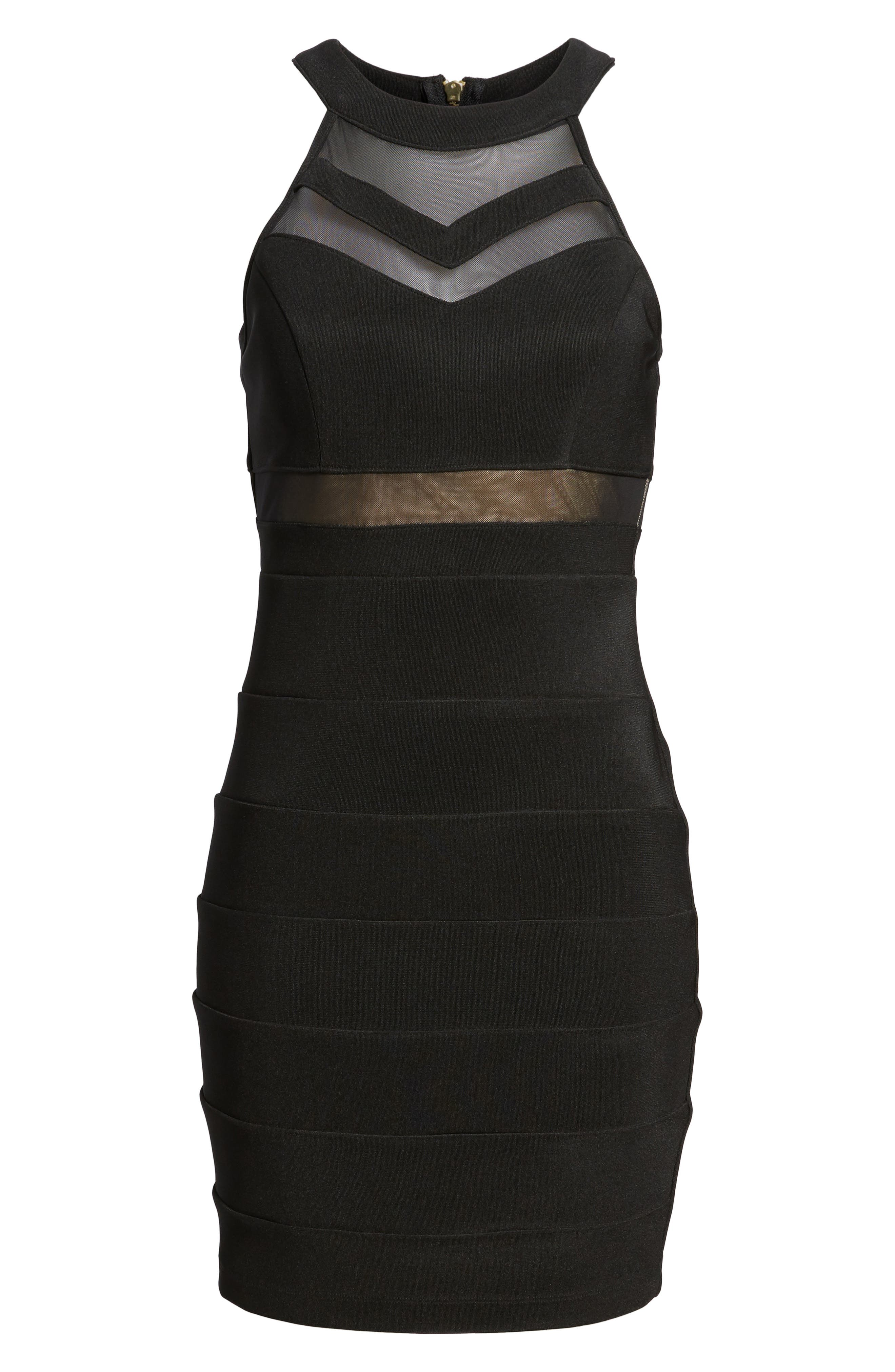 Illusion Body-Con Dress,                             Alternate thumbnail 7, color,                             001