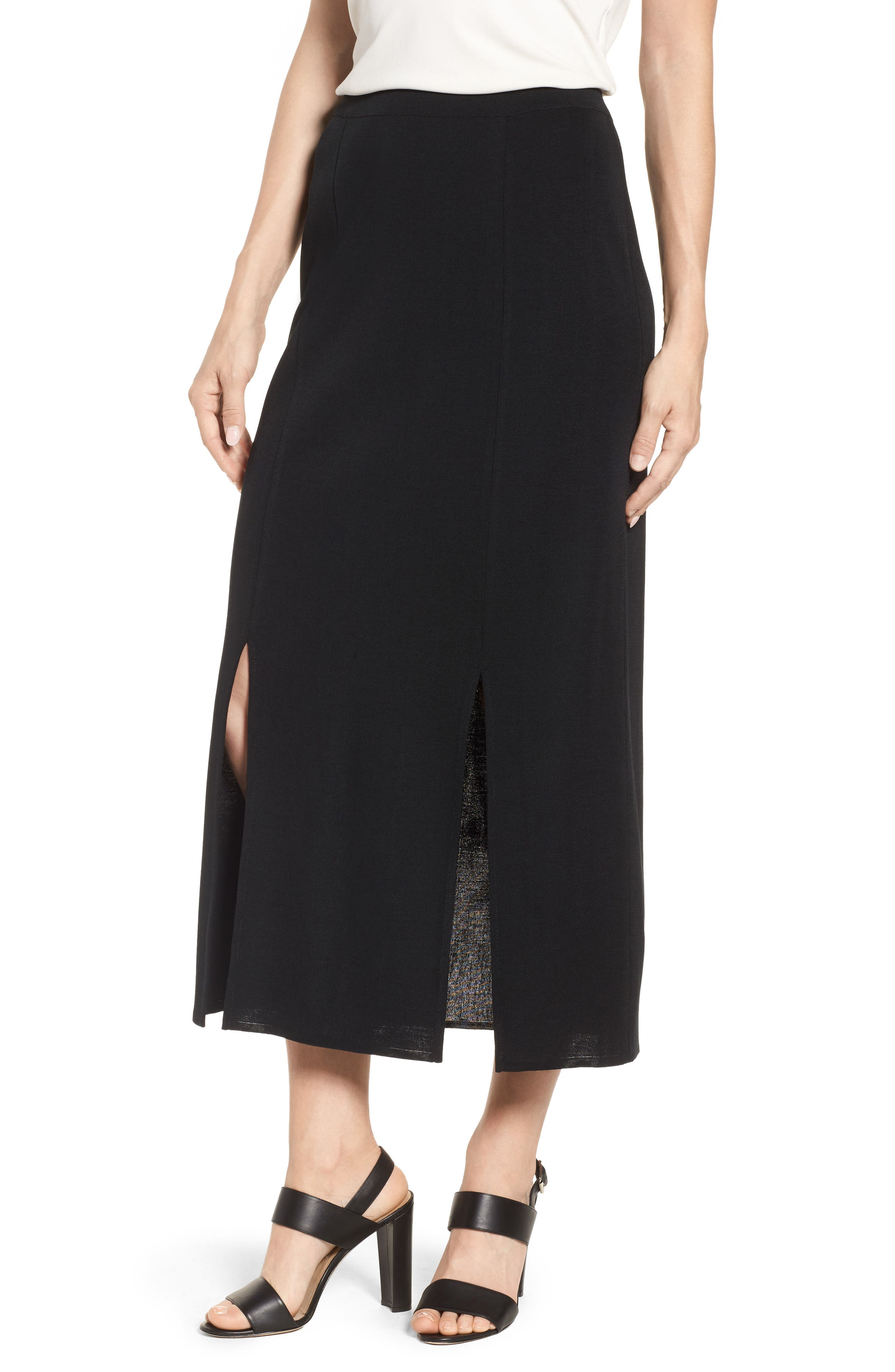 MING WANG,                             Double Slit Maxi Skirt,                             Main thumbnail 1, color,                             001
