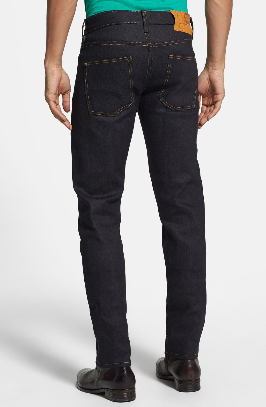'Super Skinny Guy' Skinny Fit Selvedge Jeans,                             Alternate thumbnail 4, color,                             DEEP INDIGO SELVEDGE-STRETCH