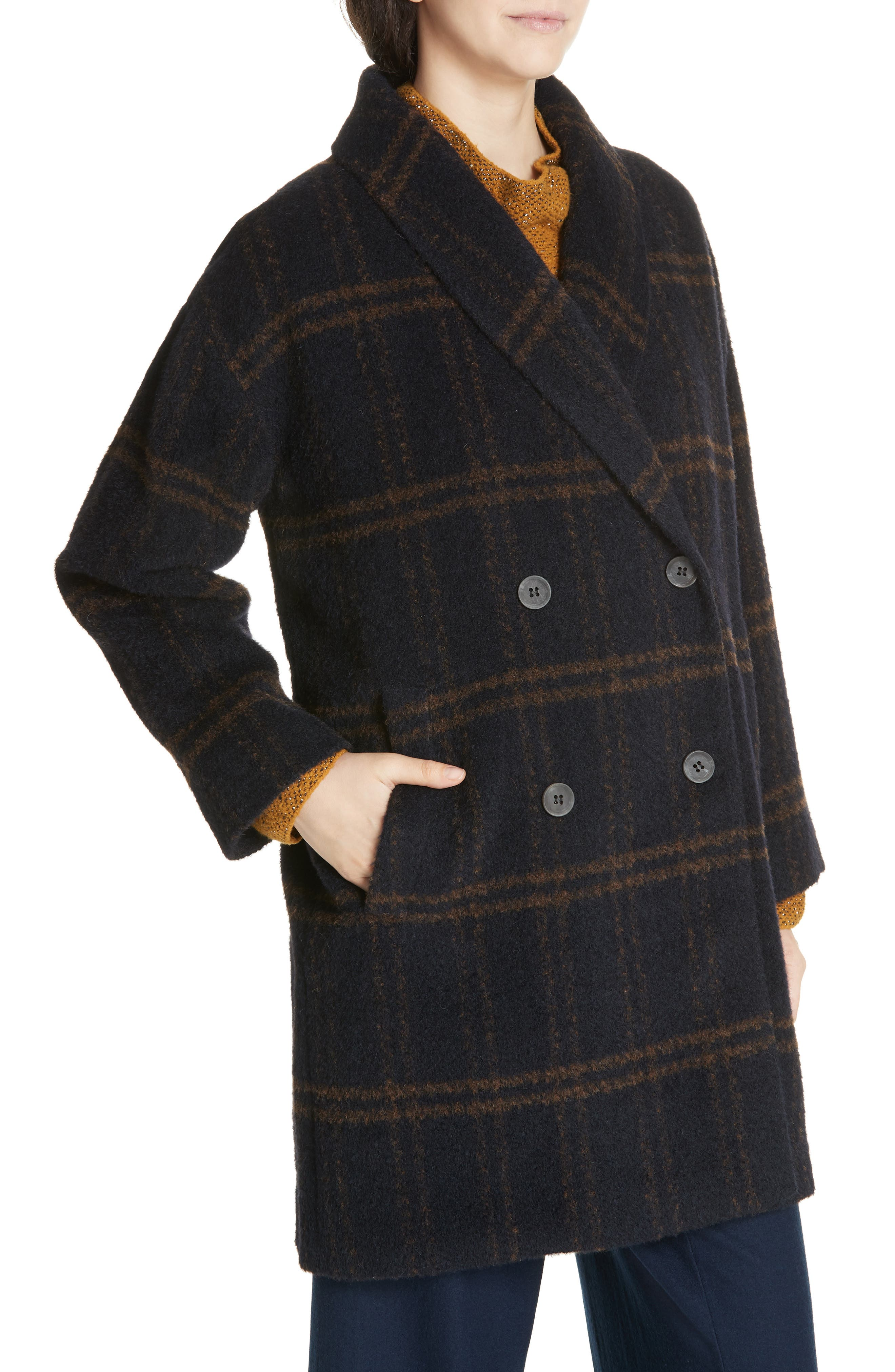 Double Breasted Plaid Alpaca Blend Coat,                             Alternate thumbnail 4, color,                             MIDNIGHT