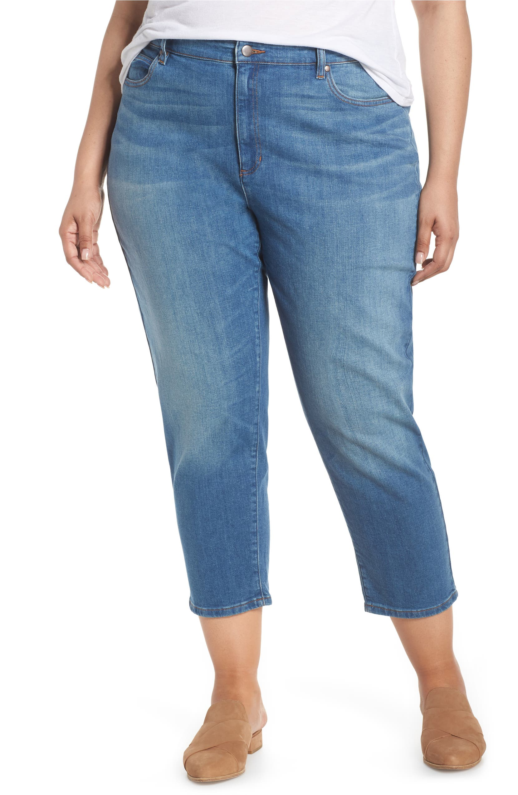 dcbbffa35306d Eileen Fisher High Waist Tapered Ankle Jeans (Solar Blue) (Plus Size ...