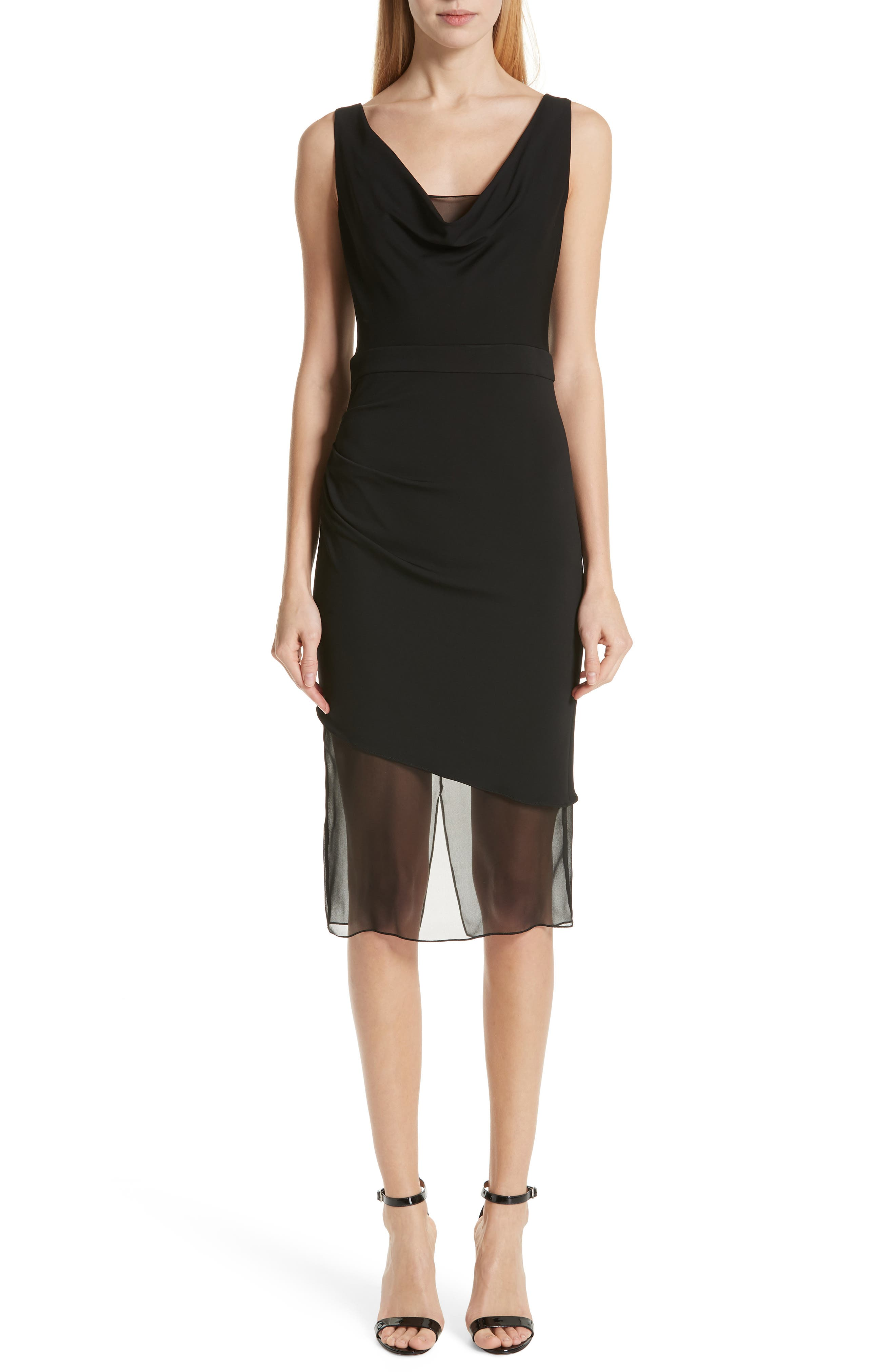 CUSHNIE,                             Cowl Neck Dress,                             Main thumbnail 1, color,                             BLACK