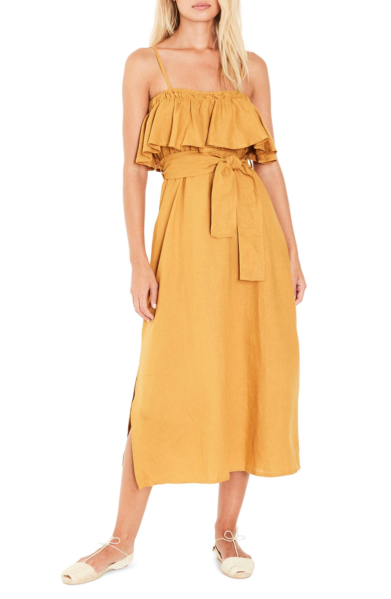 Santo Linen Midi Dress,                         Main,                         color, PLAIN MARIGOLD