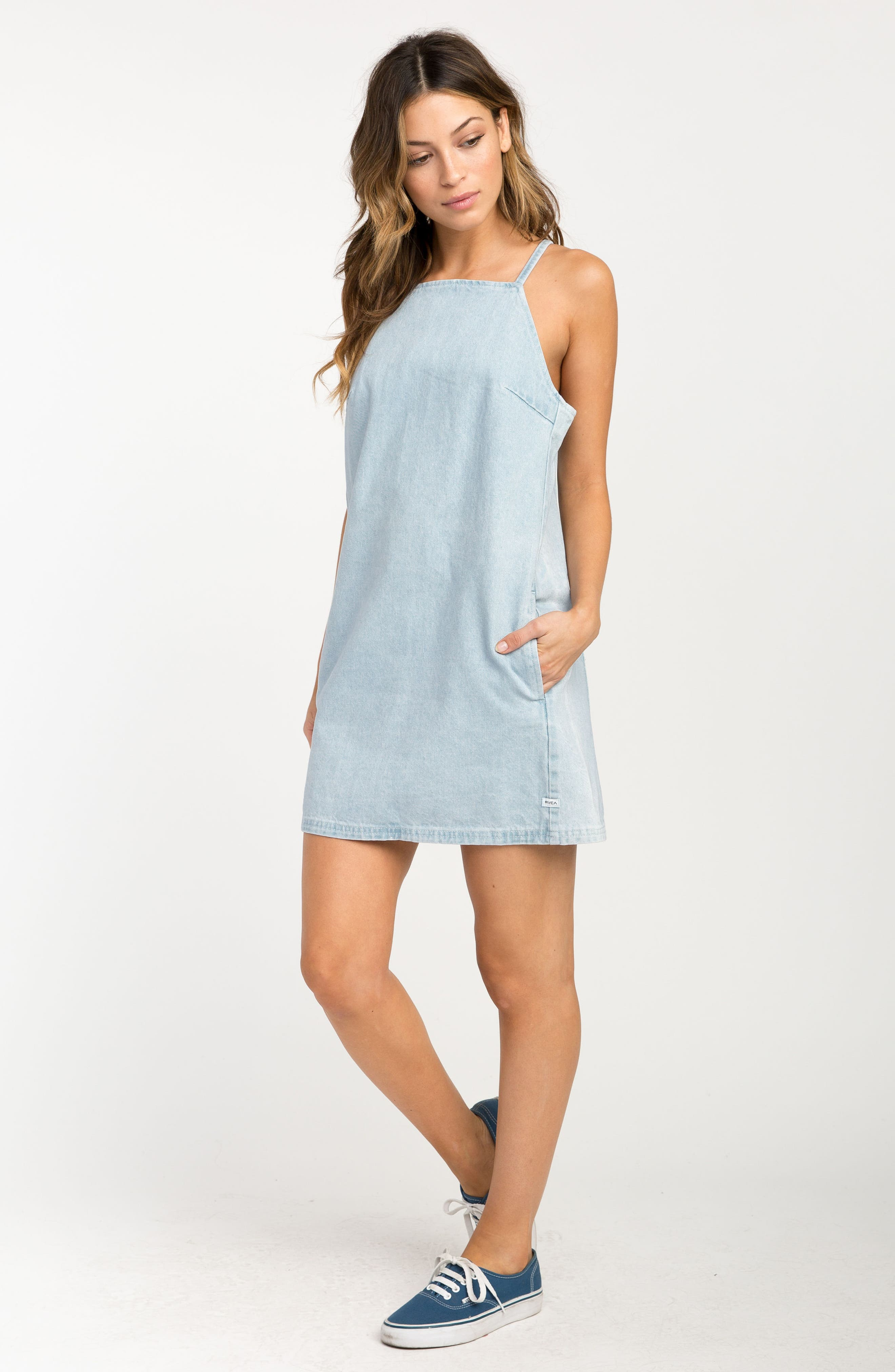 Maple Denim Apron Dress,                             Alternate thumbnail 4, color,                             401