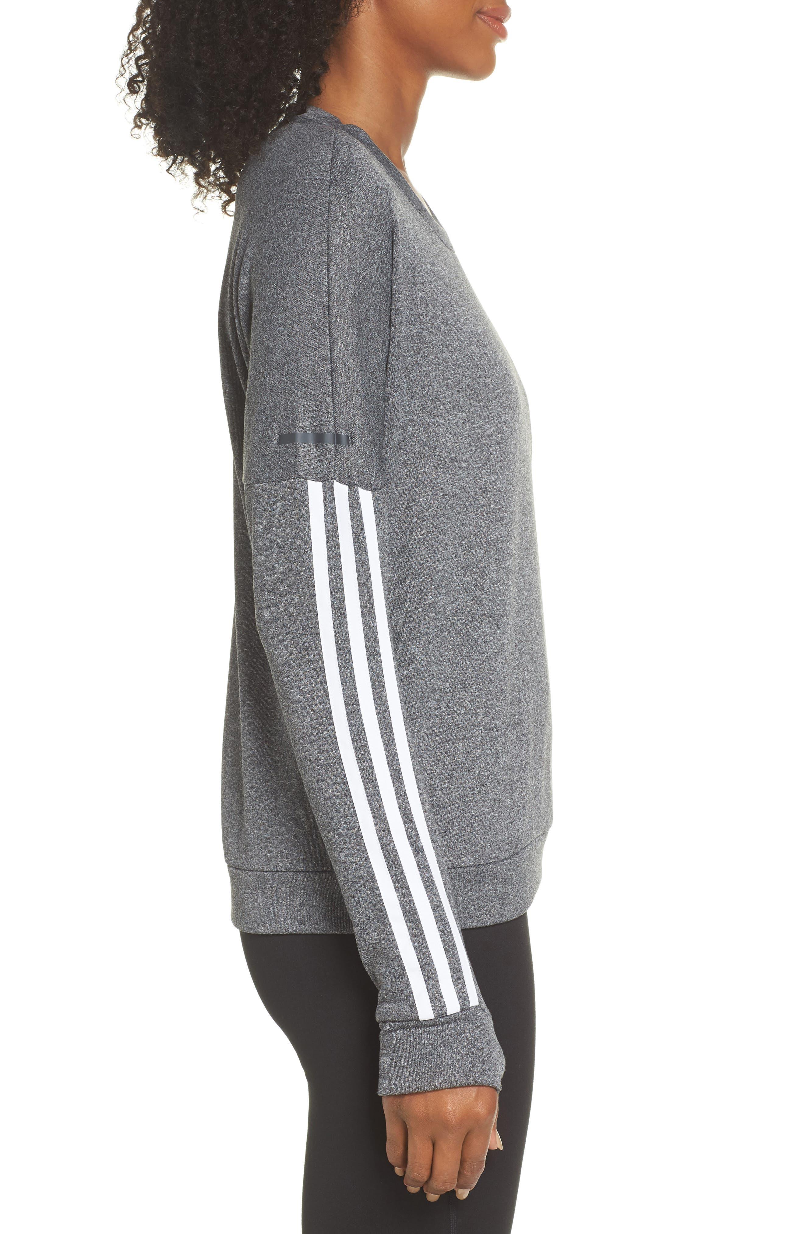 3-Stripes Running Sweatshirt,                             Alternate thumbnail 3, color,                             DARK GREY HEATHER