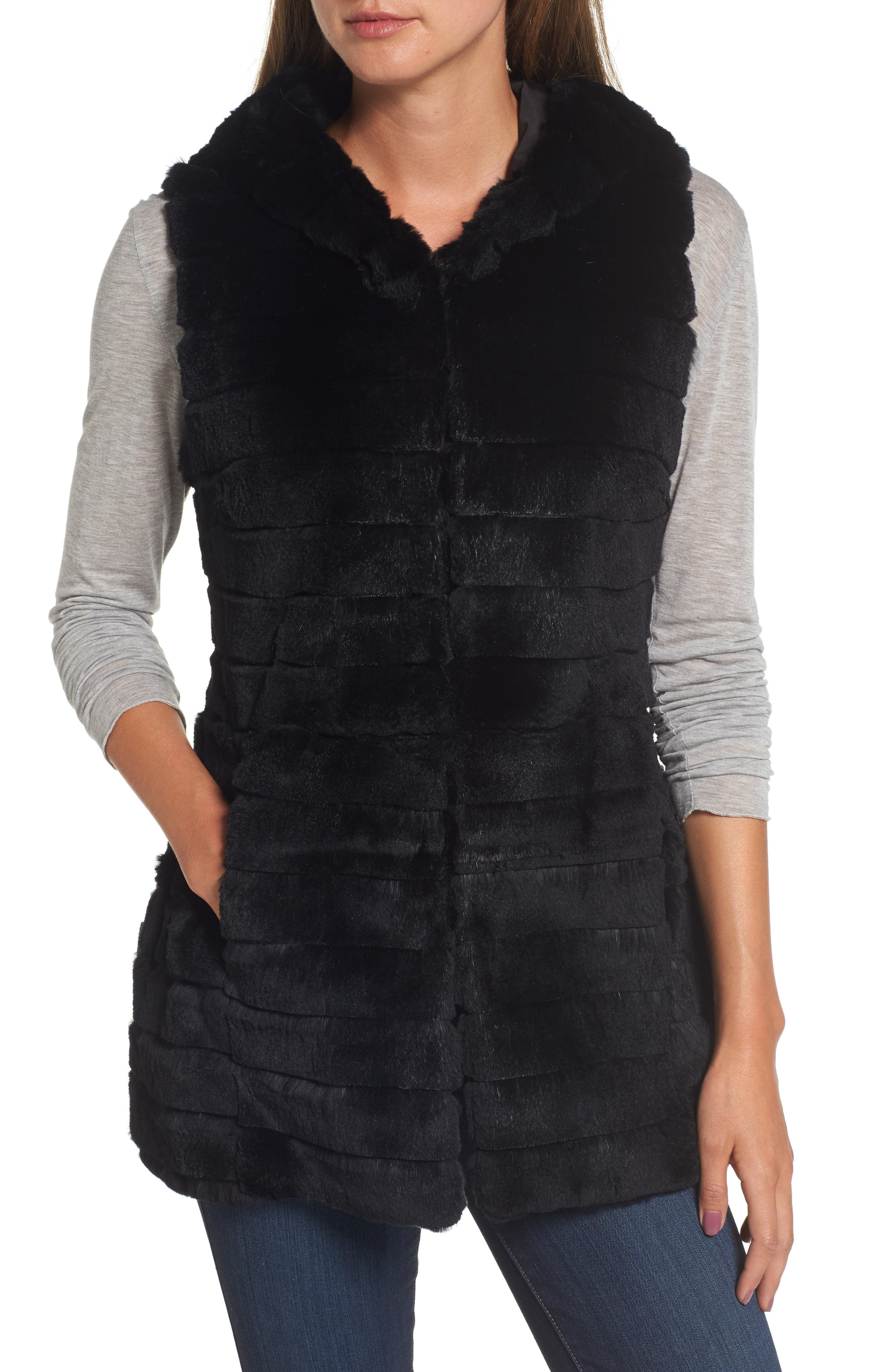 Genuine Rabbit Fur Hooded Vest,                             Alternate thumbnail 4, color,                             001