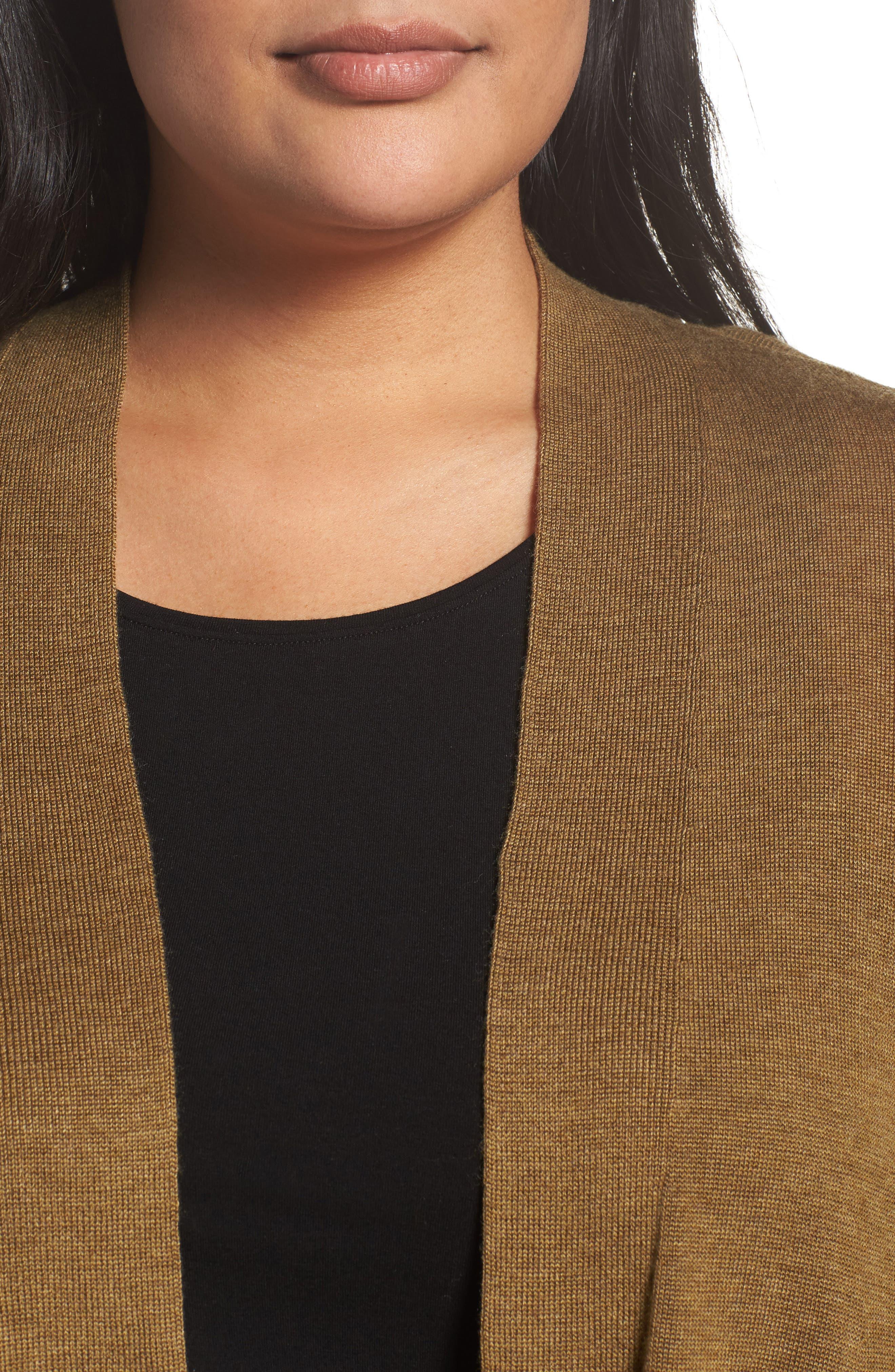 Shaped Tencel<sup>®</sup> Lyocell & Merino Wool Cardigan,                             Alternate thumbnail 15, color,