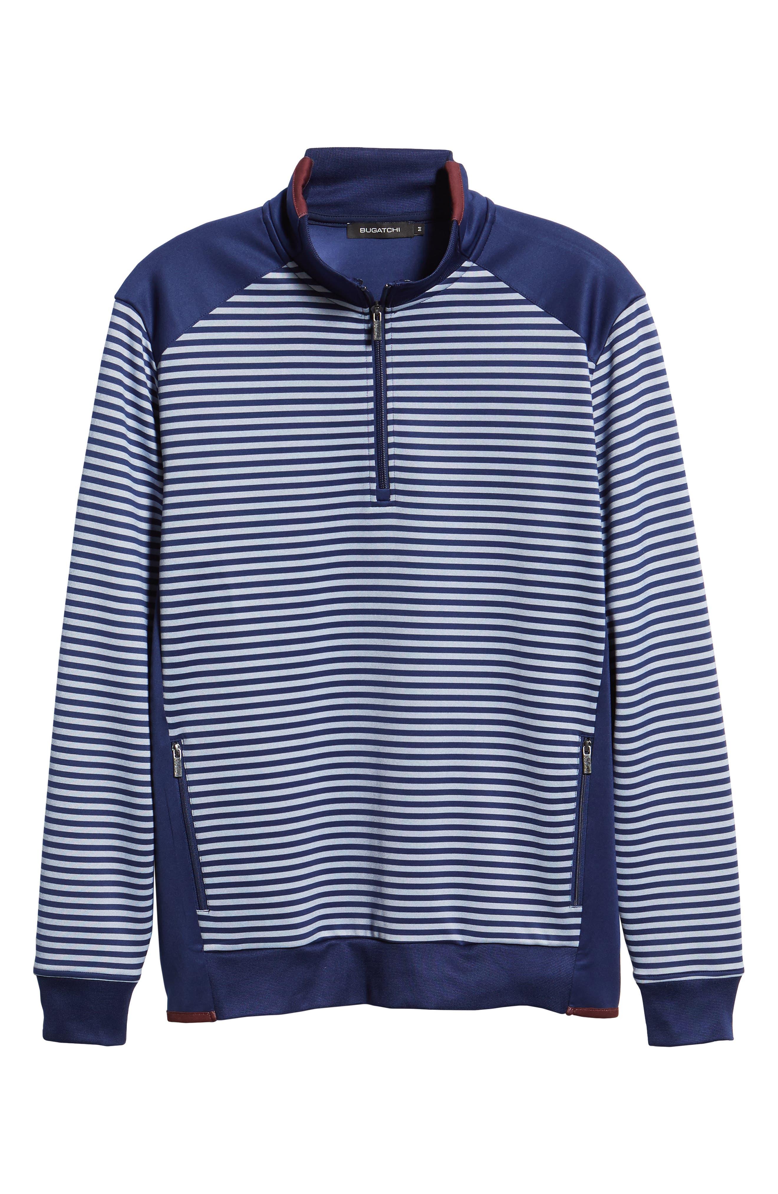 Regular Fit Stripe Quarter Zip Pullover,                             Alternate thumbnail 6, color,                             NAVY