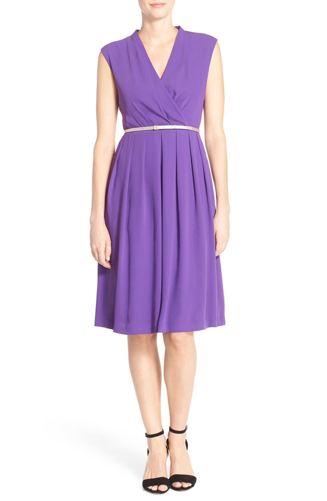 Belted Woven Fit & Flare Dress,                             Alternate thumbnail 9, color,