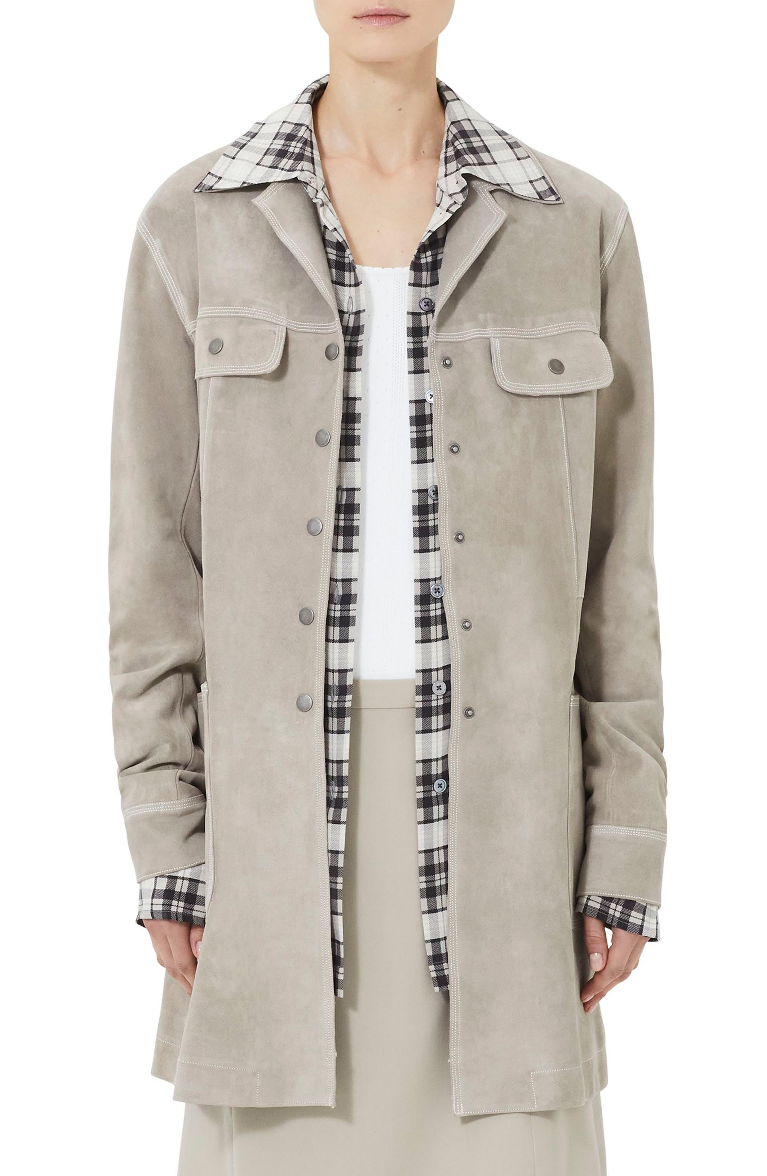 MARC JACOBS Martingale Belt Suede Coat, Main, color, 260