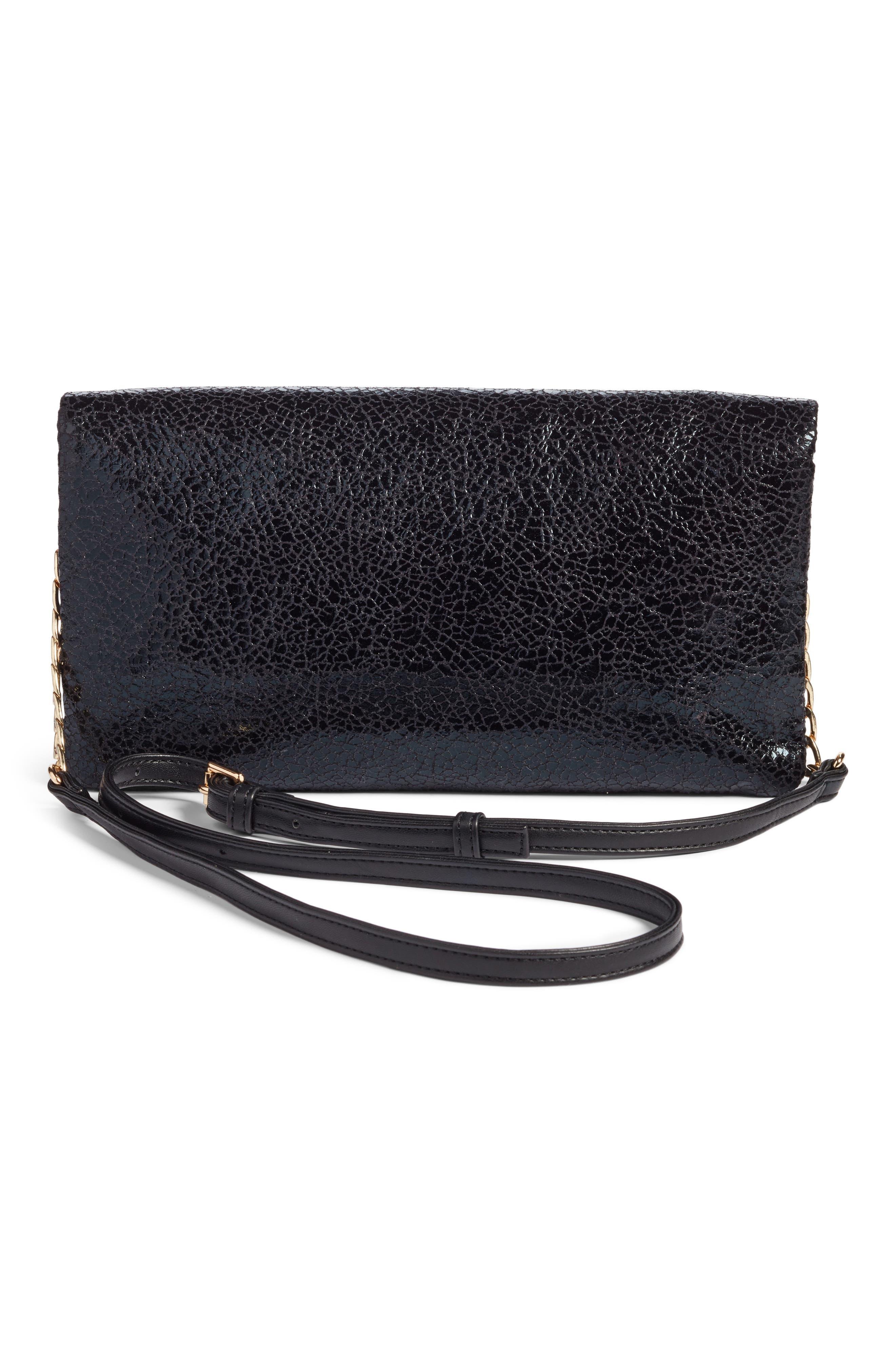 Black Crackle Faux Leather Foldover Clutch,                             Alternate thumbnail 3, color,                             001