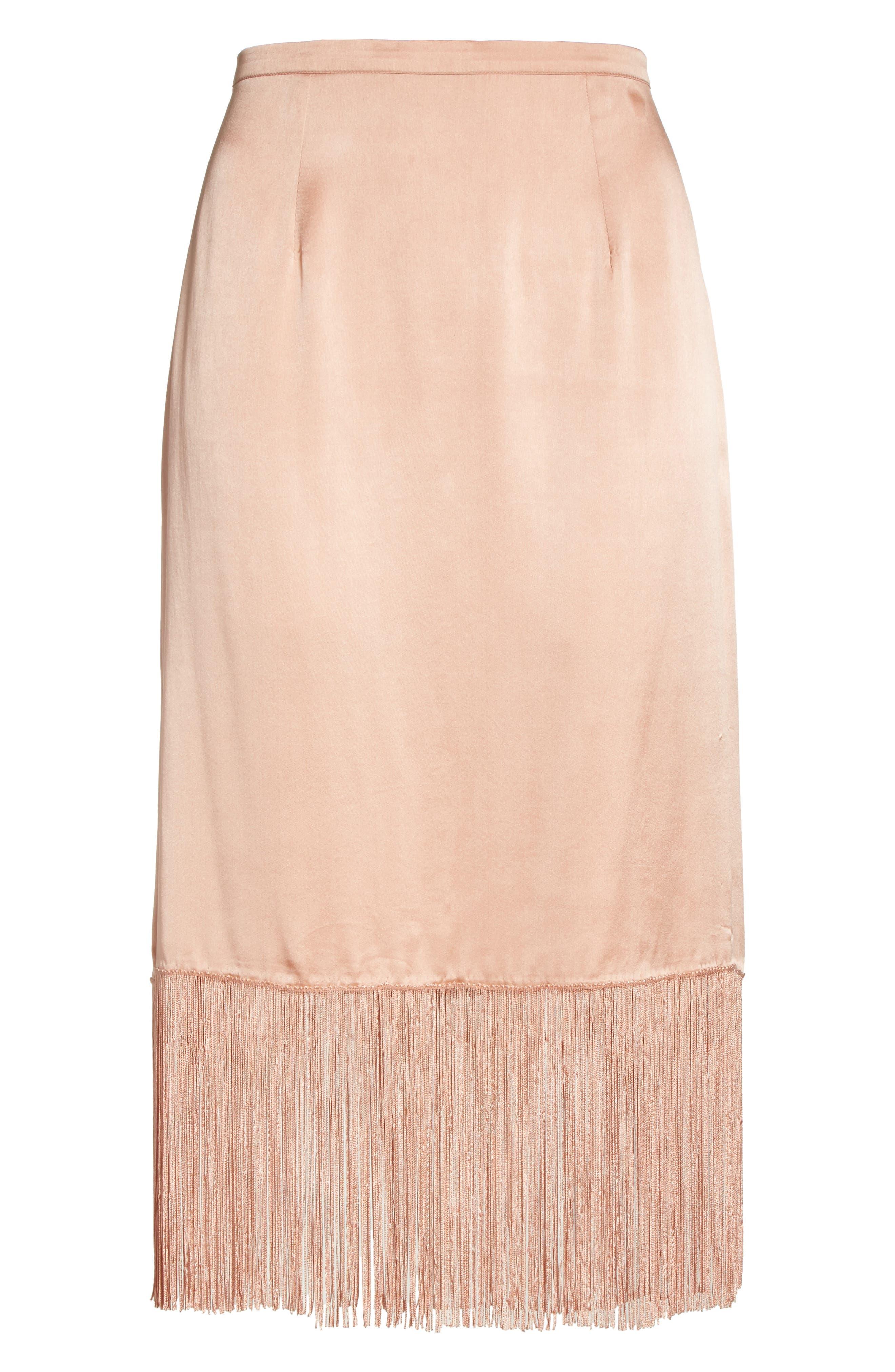 Fringe Silk Skirt,                             Alternate thumbnail 6, color,                             657