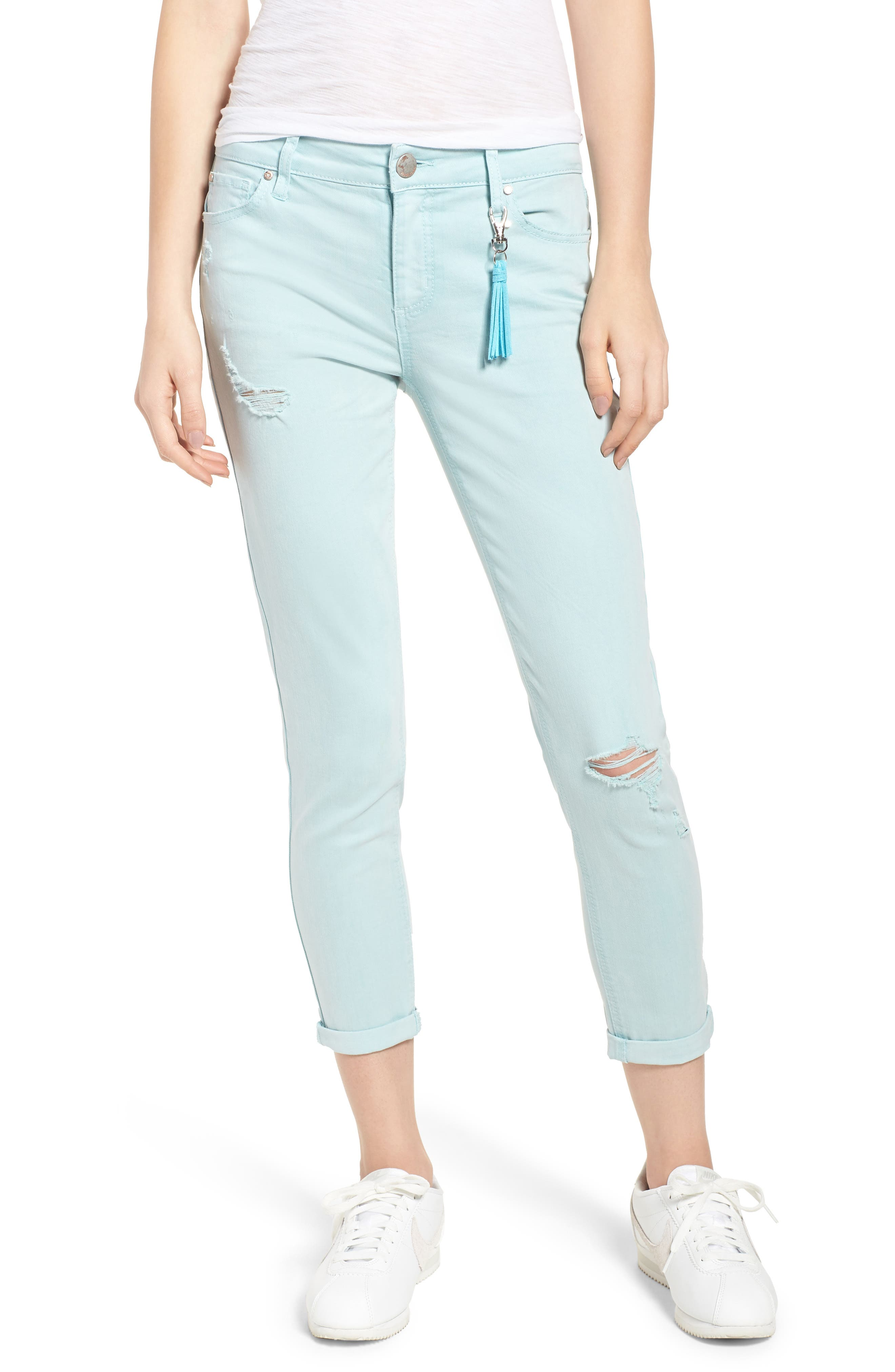 Distressed Roll Cuff Skinny Jeans,                             Main thumbnail 1, color,