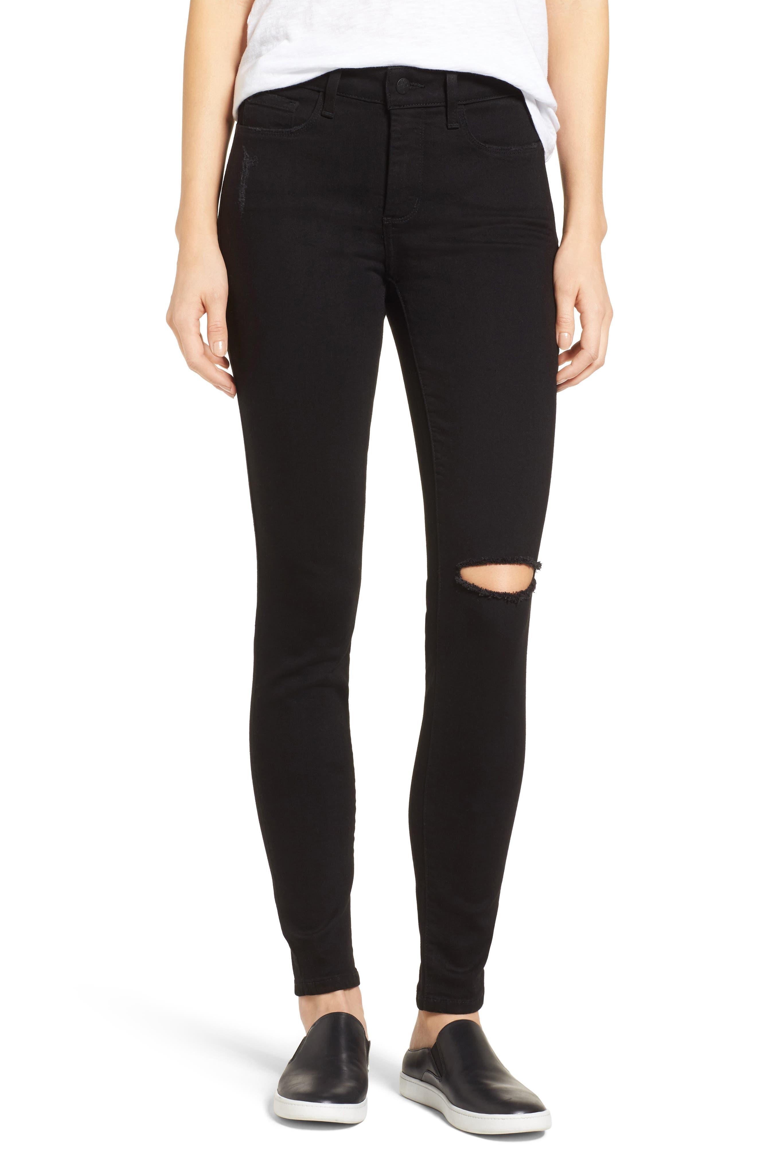 Ami Slash Knee Stretch Skinny Jeans,                             Main thumbnail 1, color,                             008