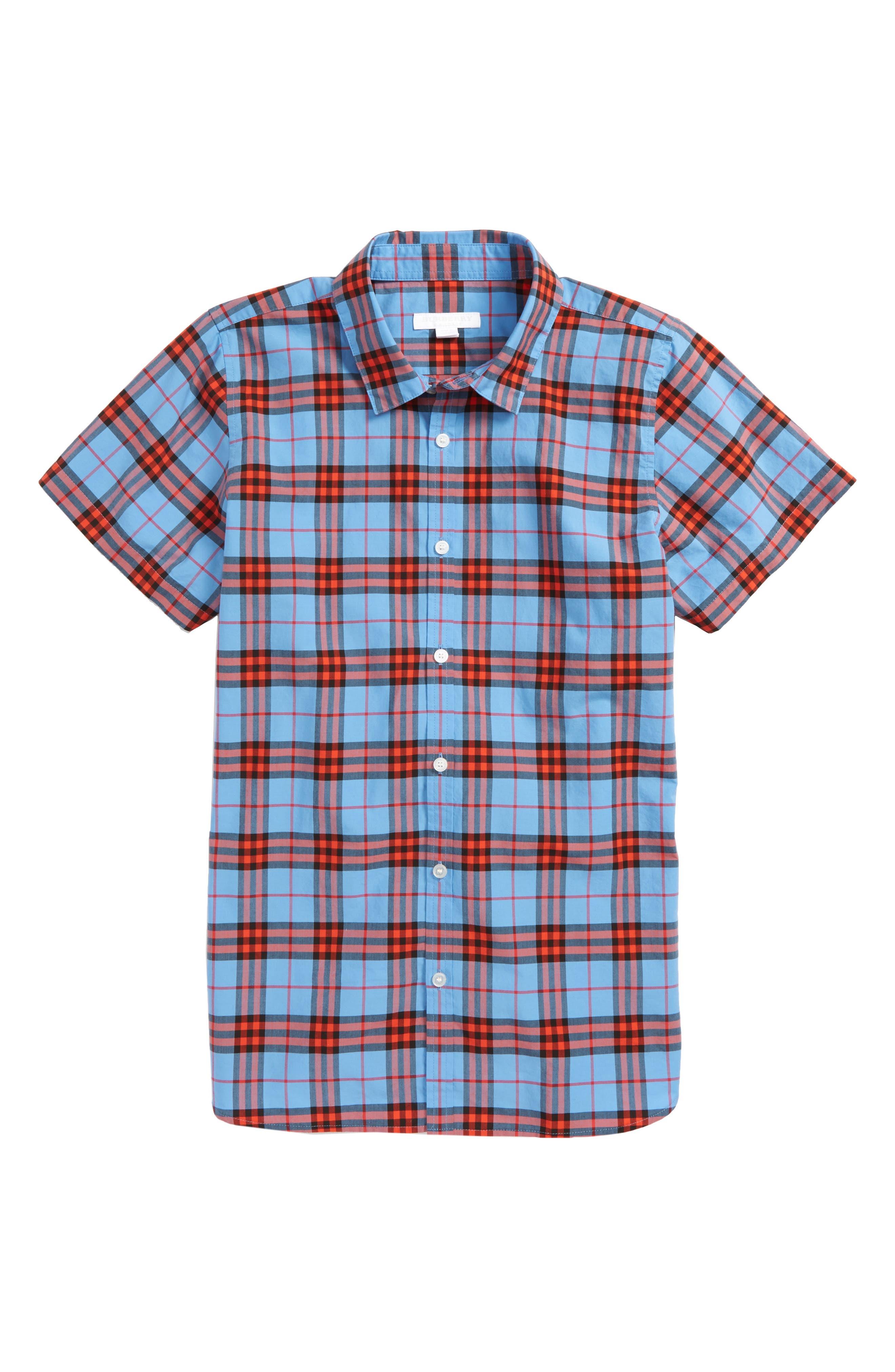 Clarkey Plaid Woven Shirt,                             Main thumbnail 1, color,                             428
