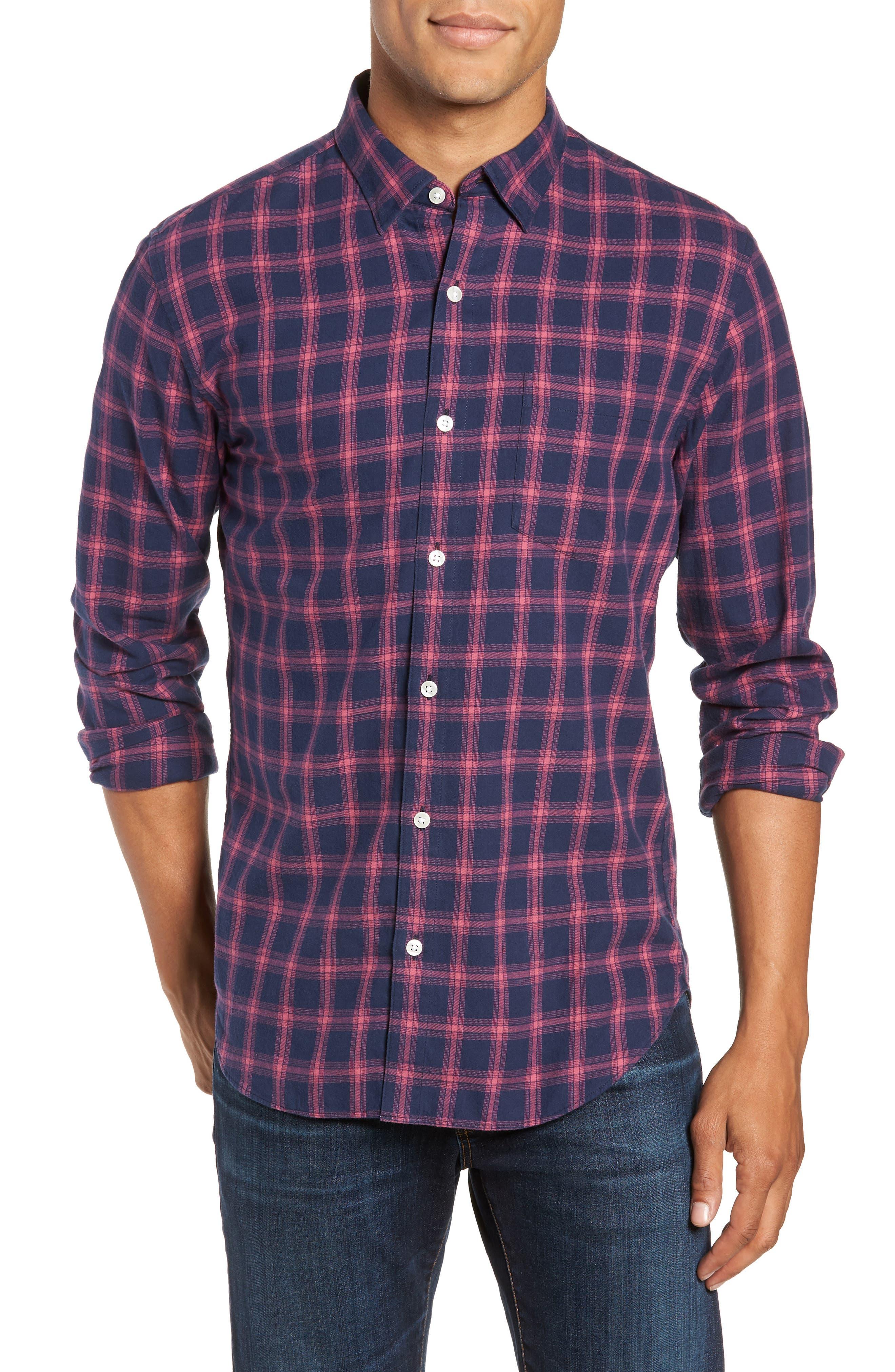 Slim Fit Brushed Twill Sport Shirt,                         Main,                         color, ELLIS CHECK - MALAGA