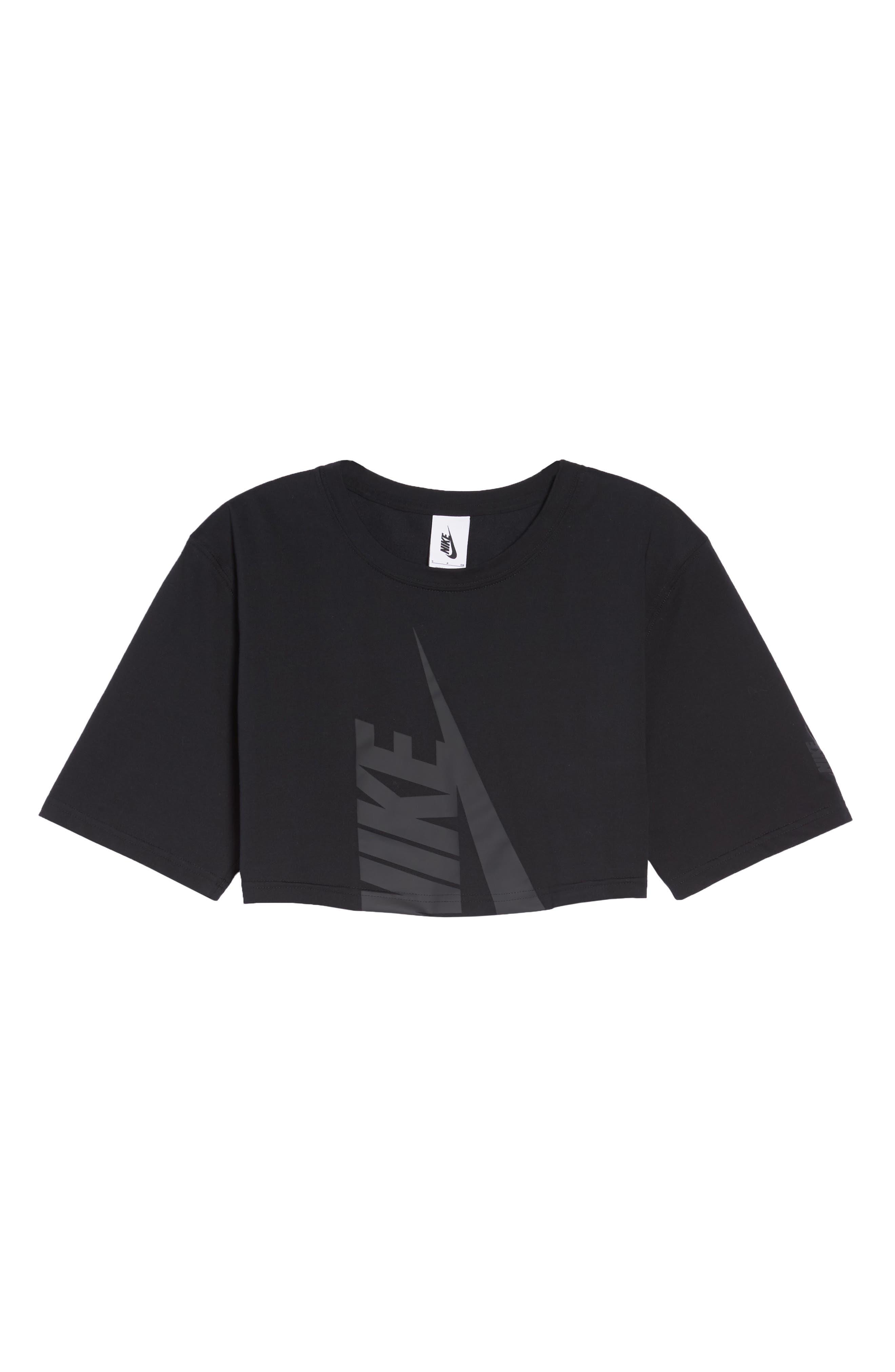 NikeLab Collection Jersey Crop Top,                             Alternate thumbnail 7, color,                             BLACK/ BLACK
