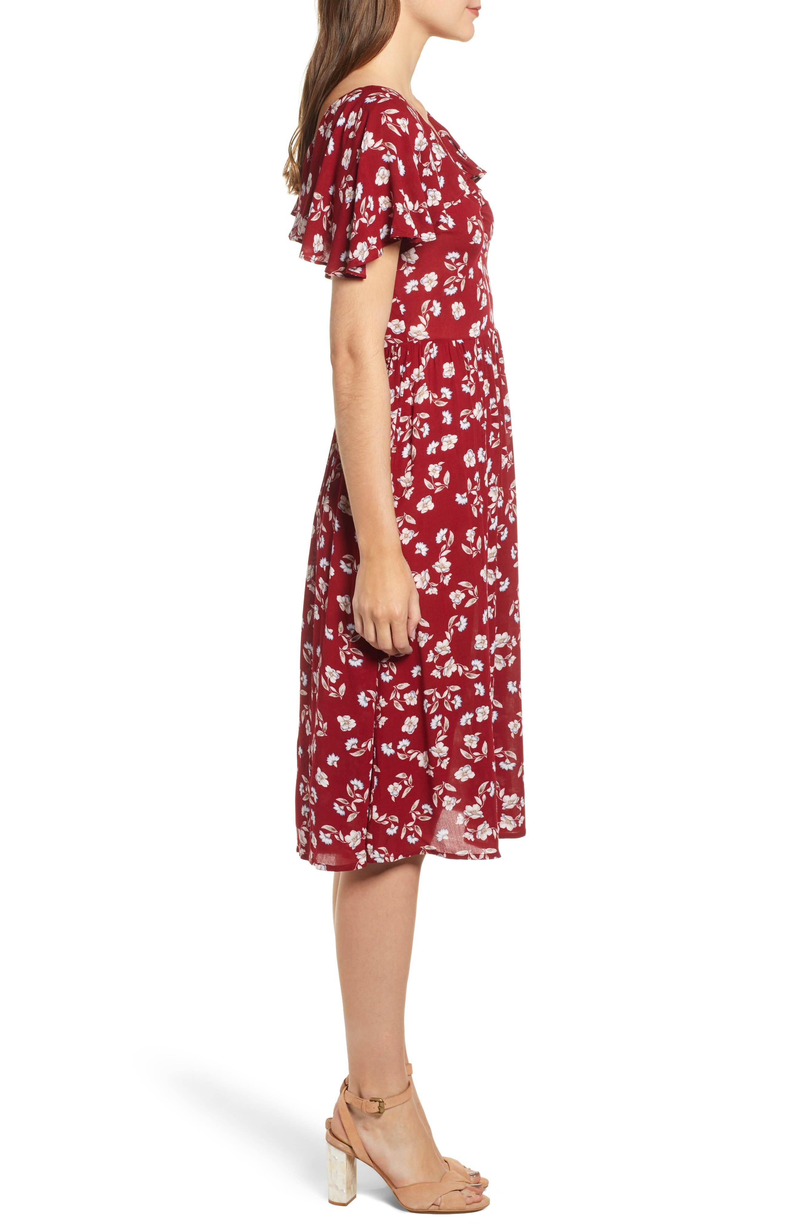 Floral Midi Dress,                             Alternate thumbnail 3, color,                             WINE FLORAL