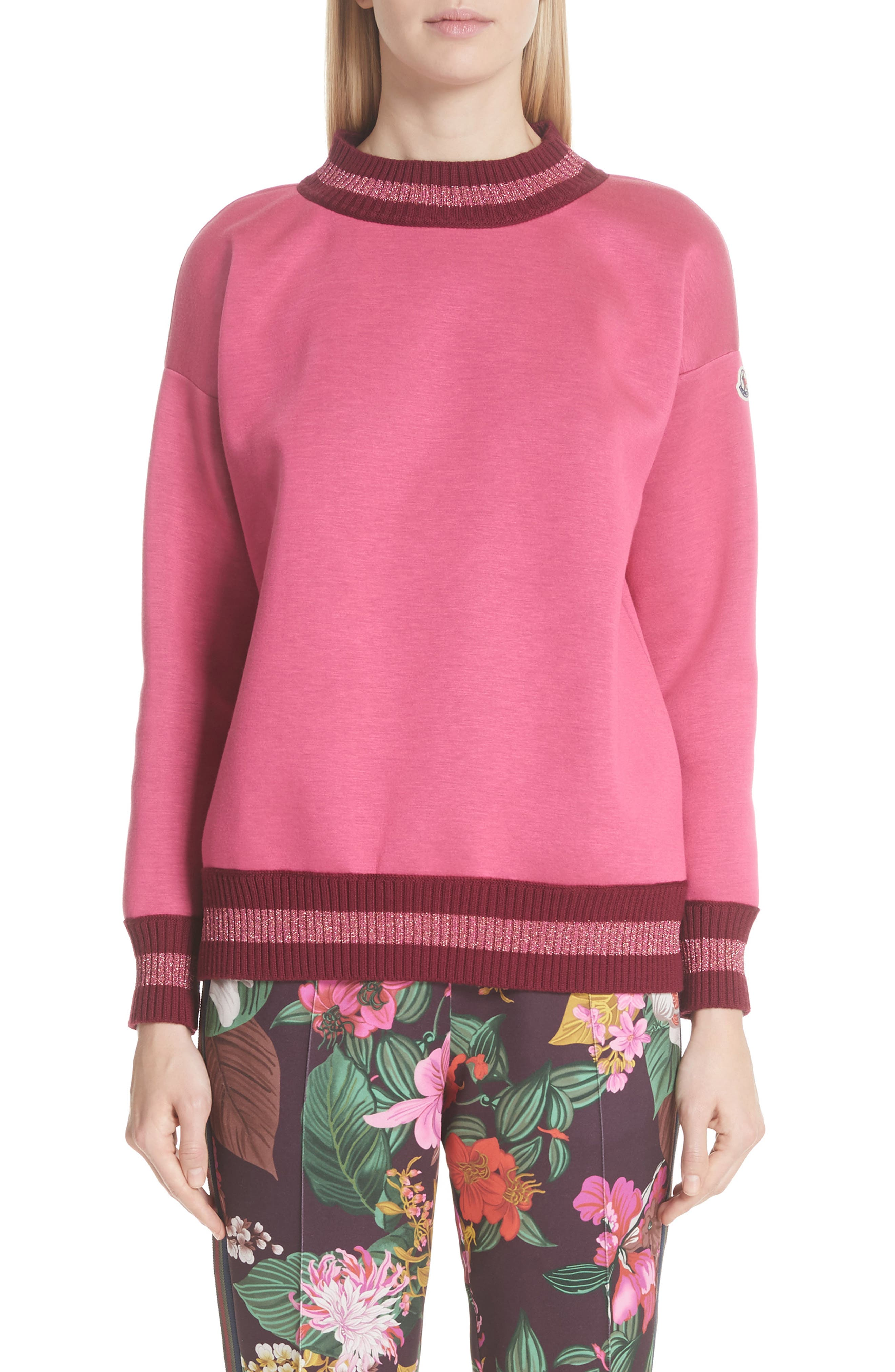 Moncler Metallic Trim Sweatshirt, Pink