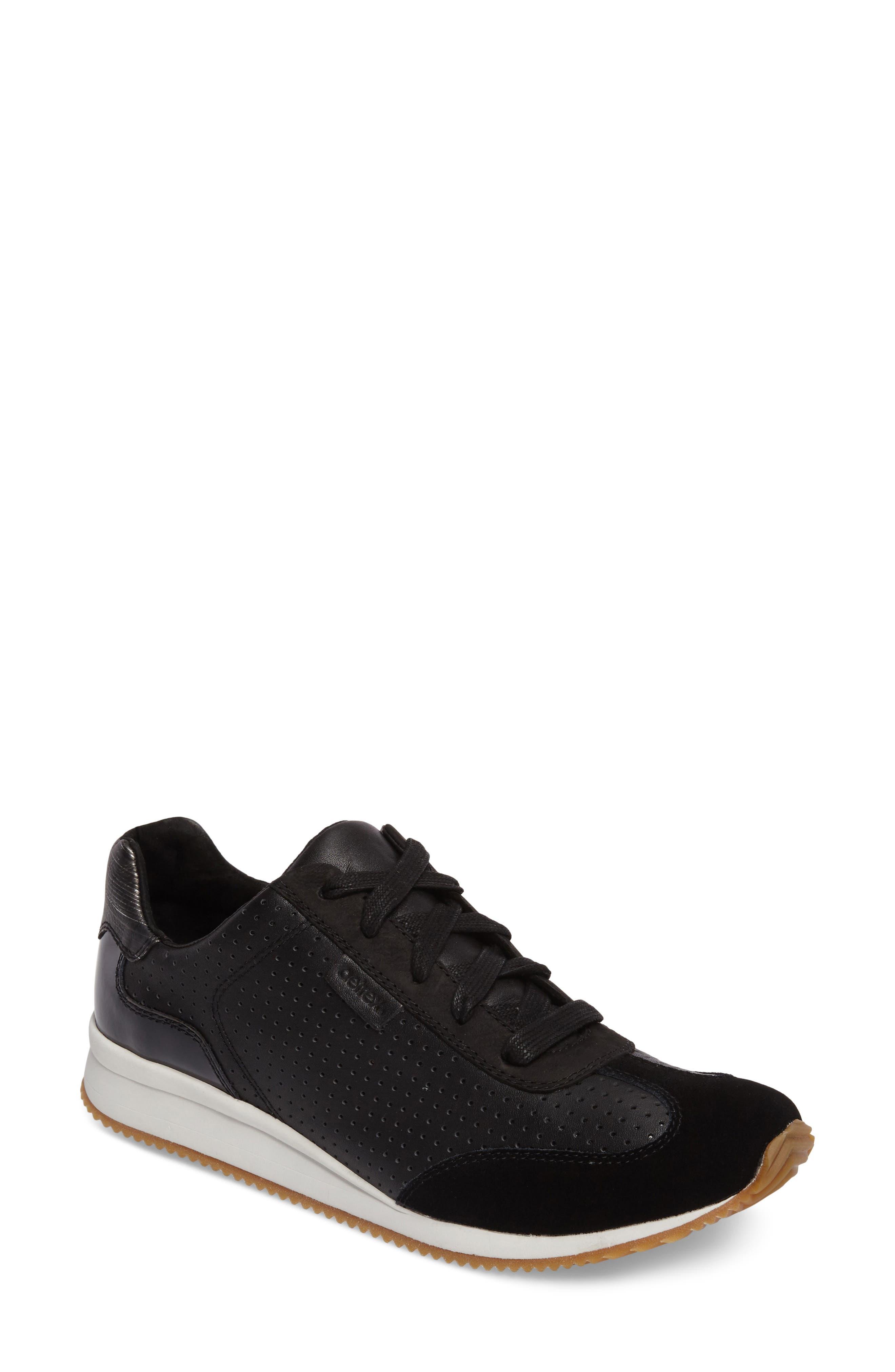 Nadia Sneaker,                         Main,                         color, BLACK LEATHER