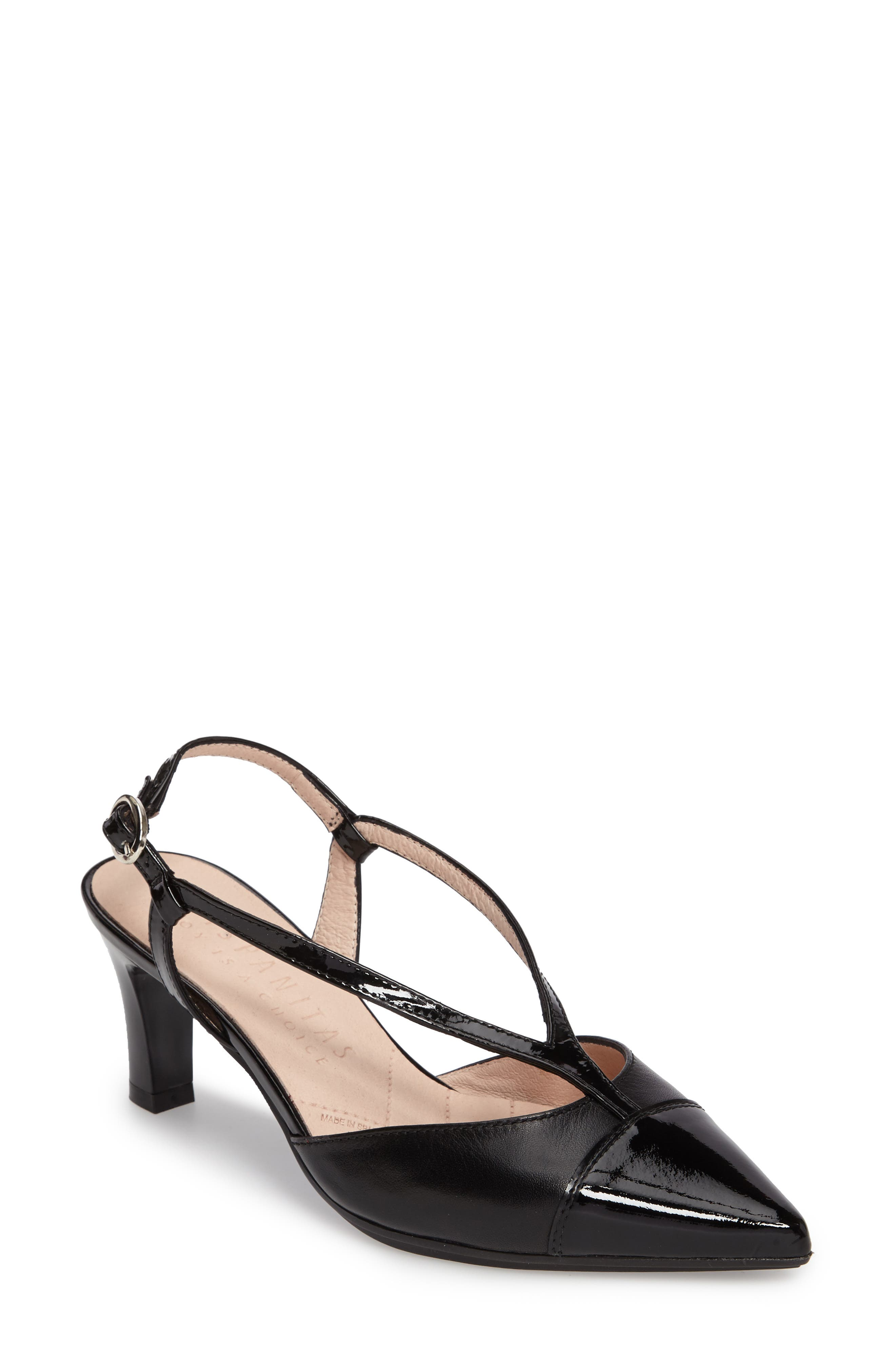 Hipster Pointy Cap Toe Pump,                         Main,                         color, 001