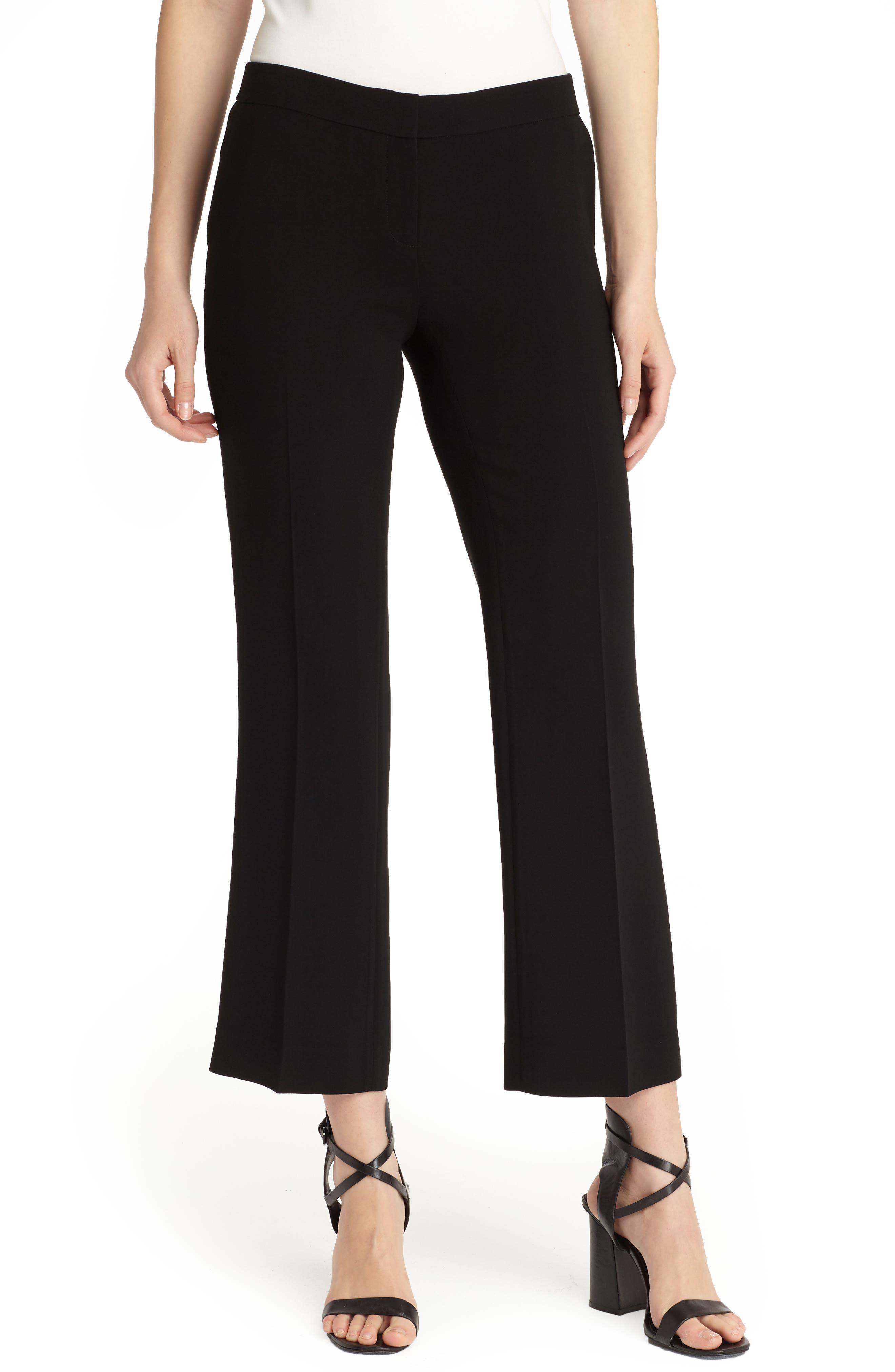 Manhattan Finesse Crepe Crop Flare Pants,                             Main thumbnail 1, color,                             BLACK