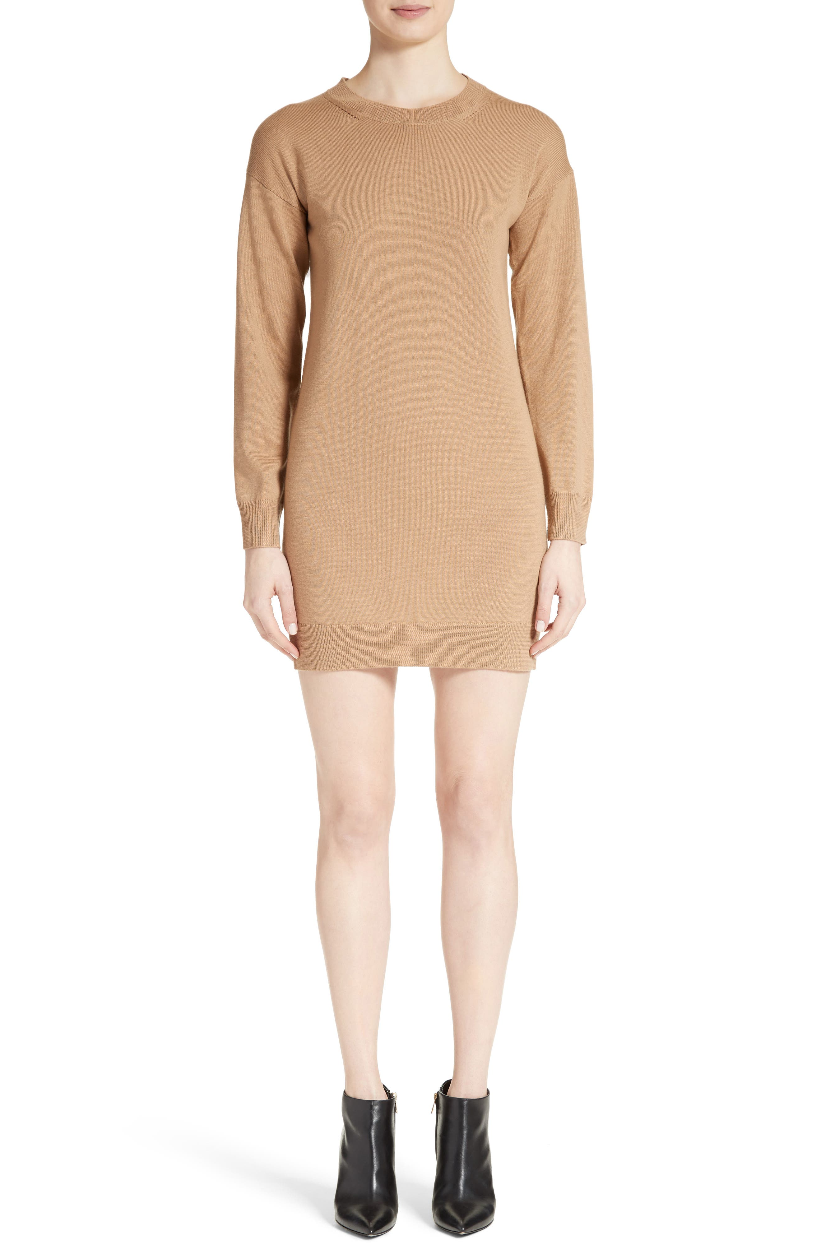 BURBERRY,                             Alewater Elbow Patch Merino Wool Dress,                             Main thumbnail 1, color,                             CAMEL