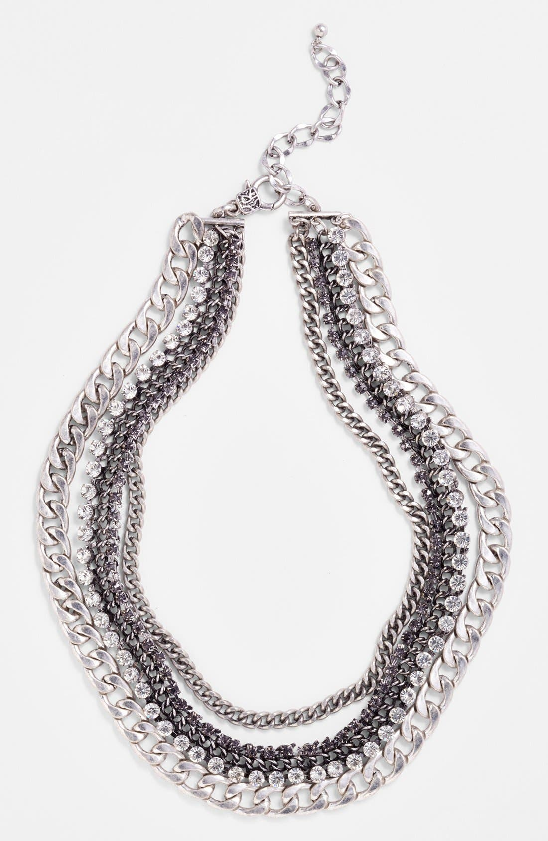 Crystal Multi Chain Necklace,                             Alternate thumbnail 3, color,                             041